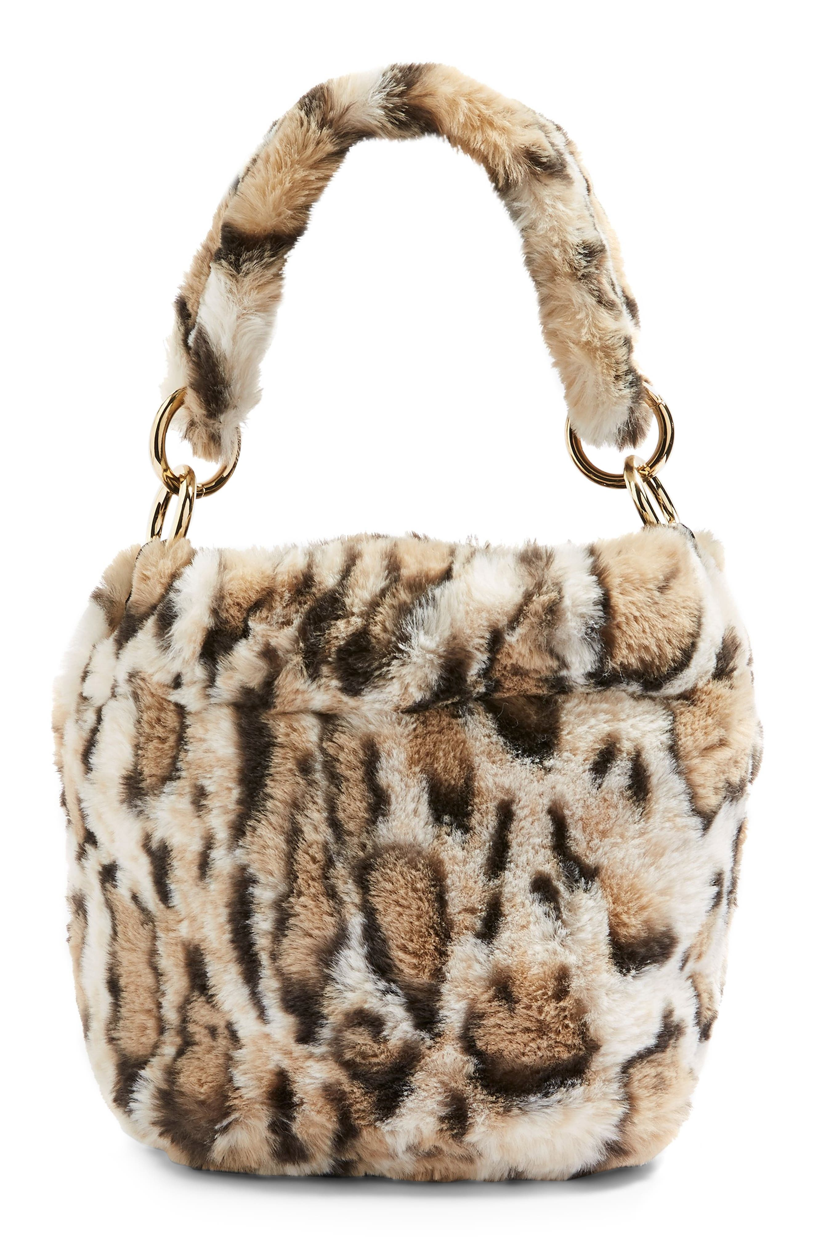 Teddy Faux Fur Bucket Bag,                             Main thumbnail 1, color,                             LEOPARD