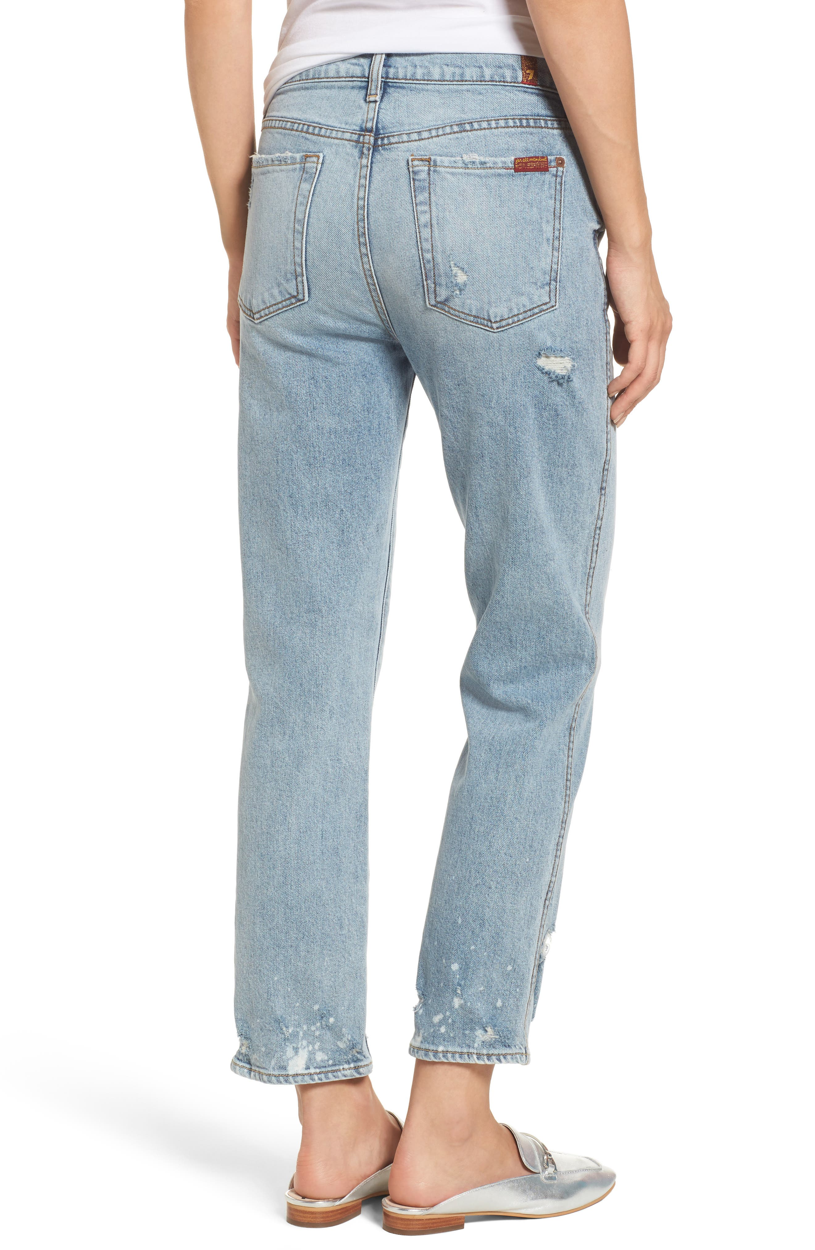 Edie High Waist Crop Straight Leg Jeans,                             Alternate thumbnail 2, color,                             400