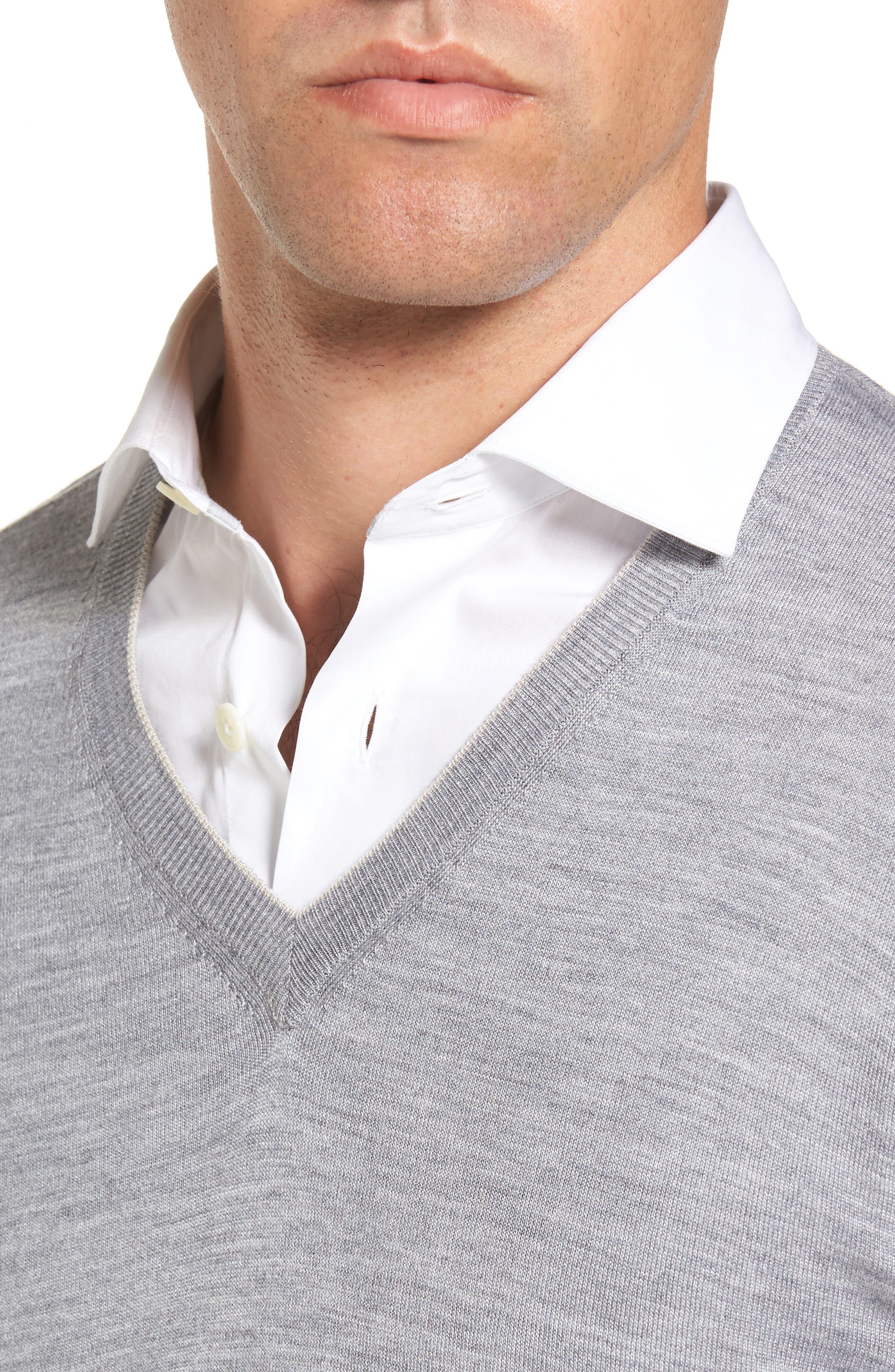 Merino Wool & Silk Tipped Sweater,                             Alternate thumbnail 4, color,                             LIGHT GREY