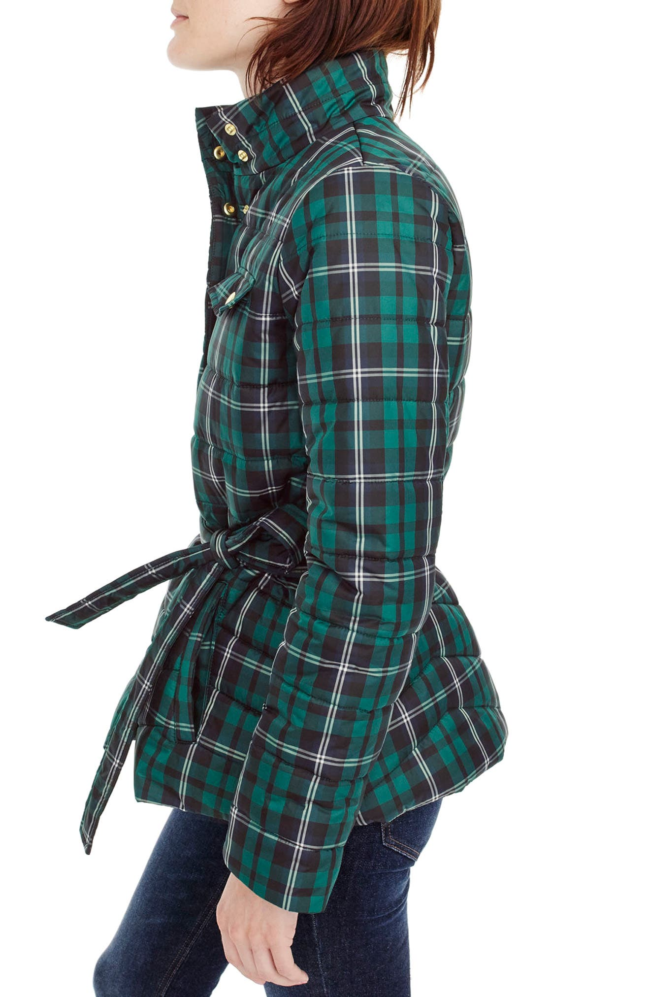 Plaid Belted Puffer Jacket,                             Alternate thumbnail 2, color,