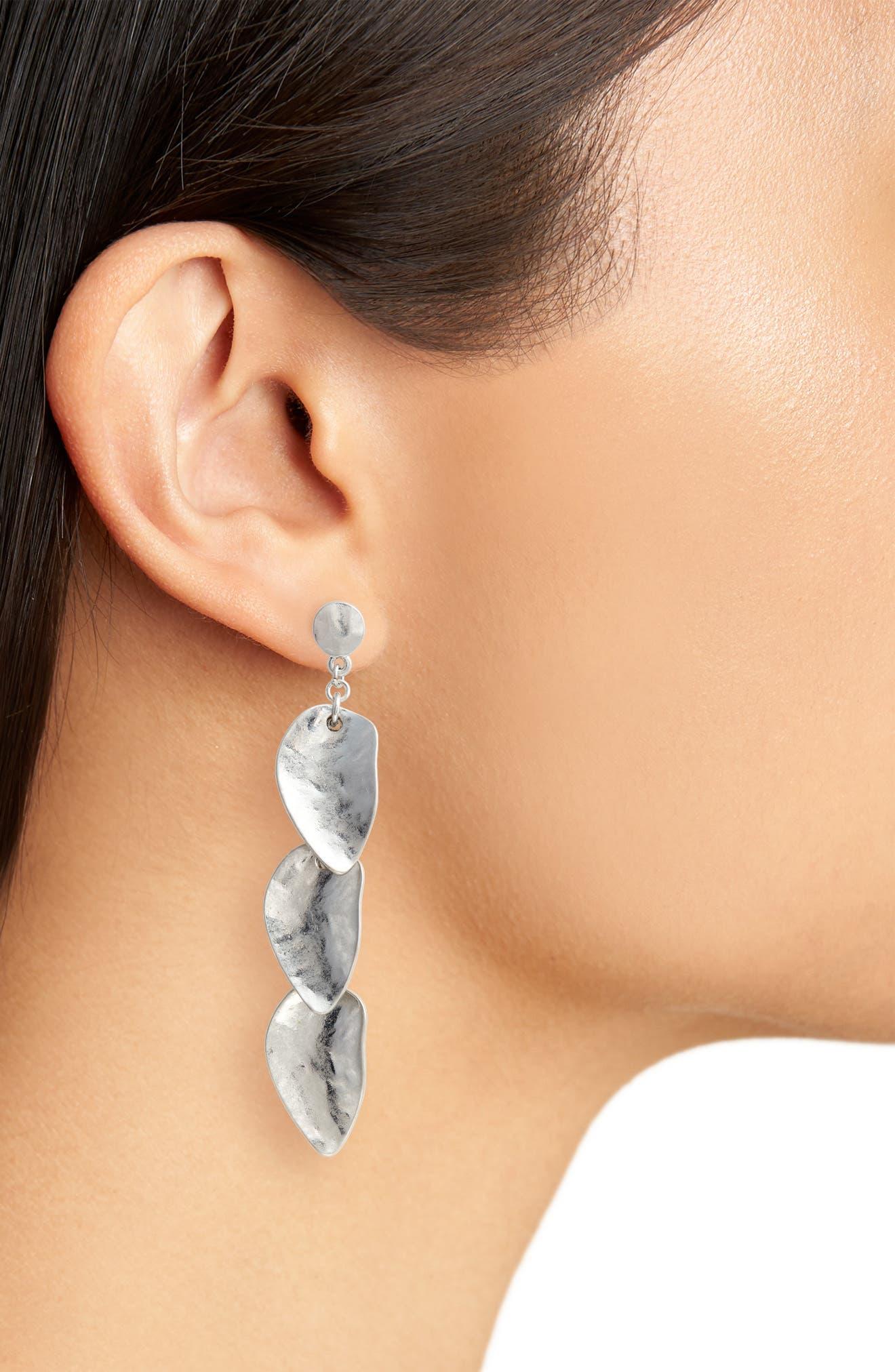 Organic Petal Cascade Drop Earrings,                             Alternate thumbnail 2, color,                             040