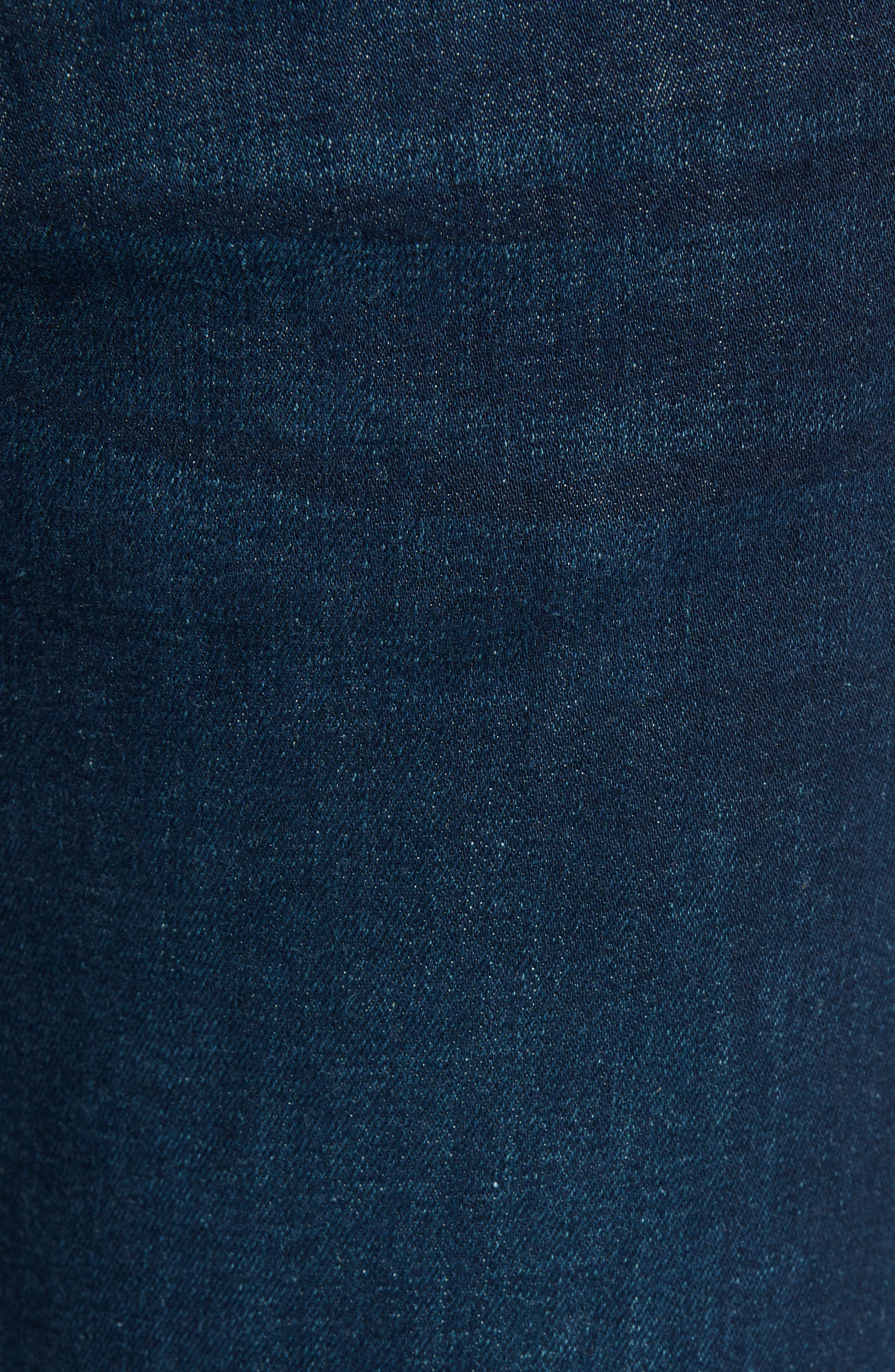 Zip Hem Spray-On Skinny Jeans,                             Alternate thumbnail 5, color,                             BLUE