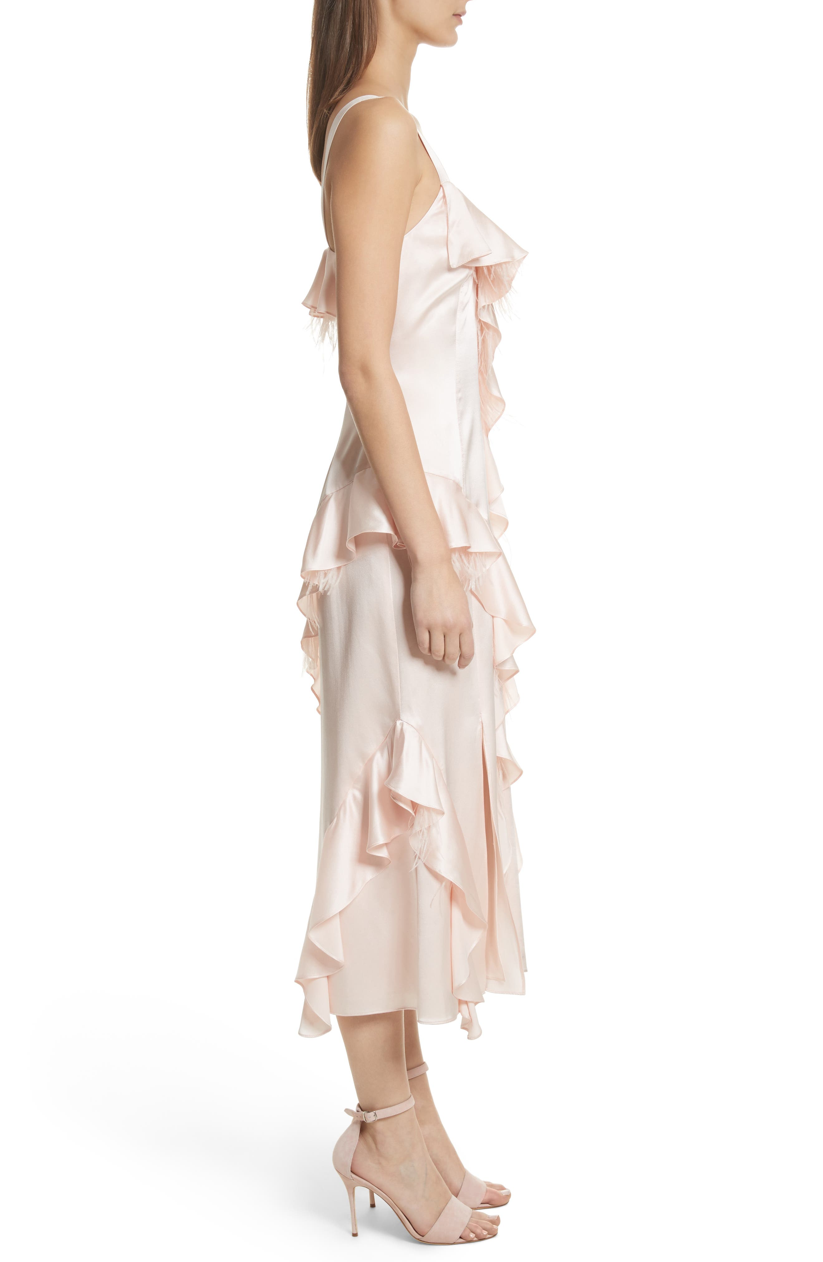 Gigi Ruffle & Ostrich Feather Silk Dress,                             Alternate thumbnail 3, color,                             655