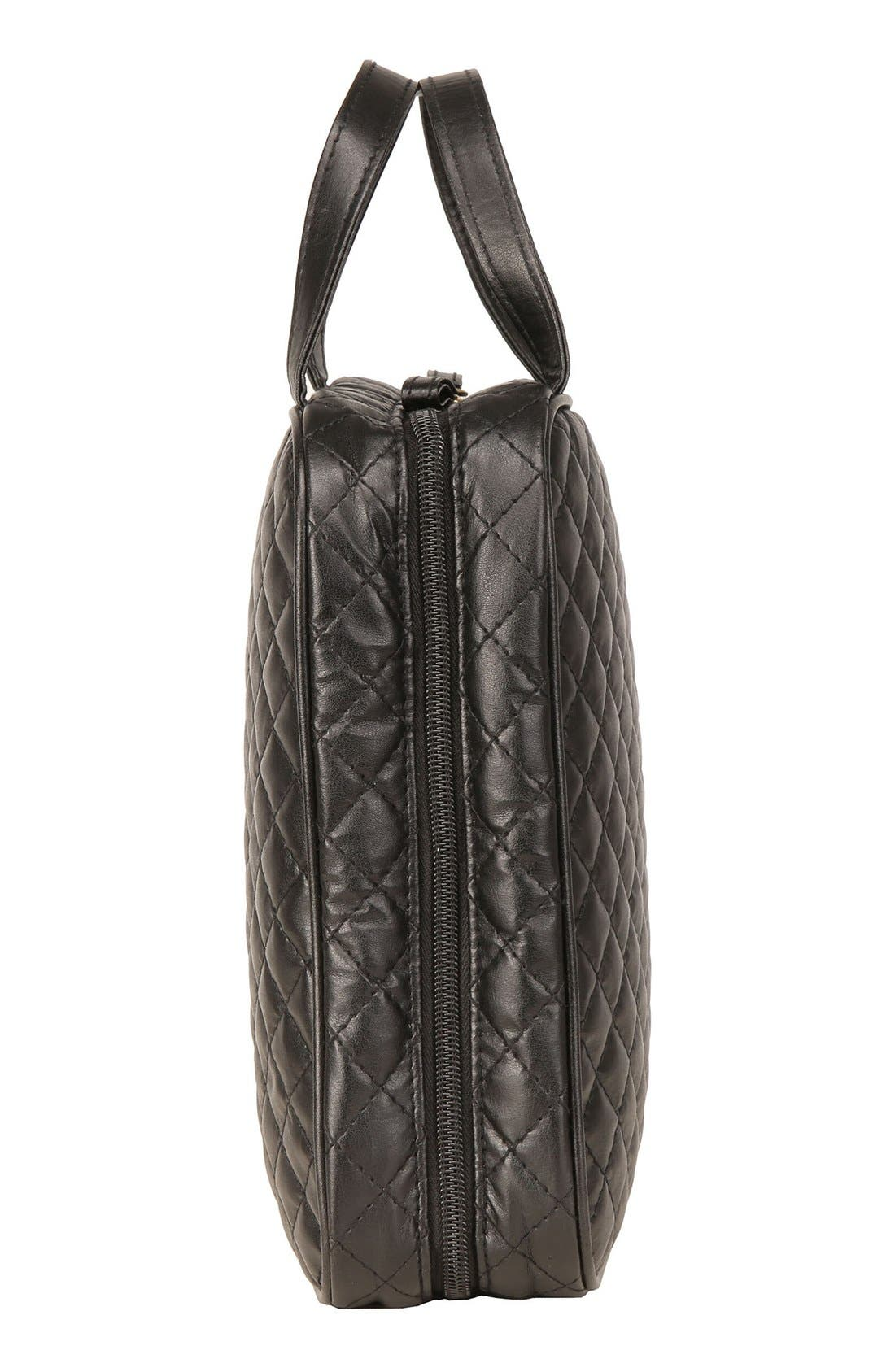 'Marissa' Black Quilted Cosmetics Case,                             Alternate thumbnail 2, color,                             000