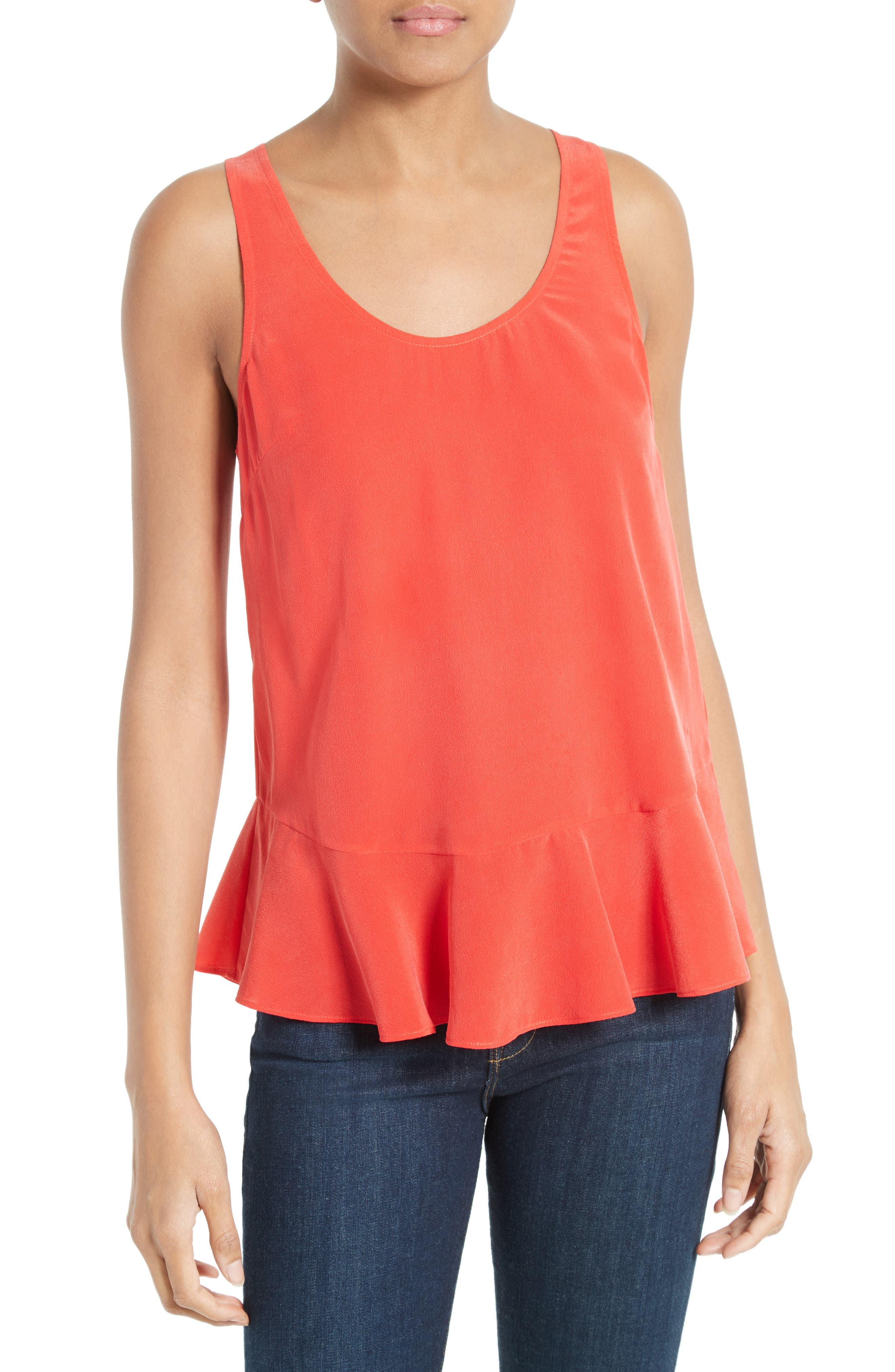 Cosma Silk Flounce Hem Tank,                         Main,                         color,