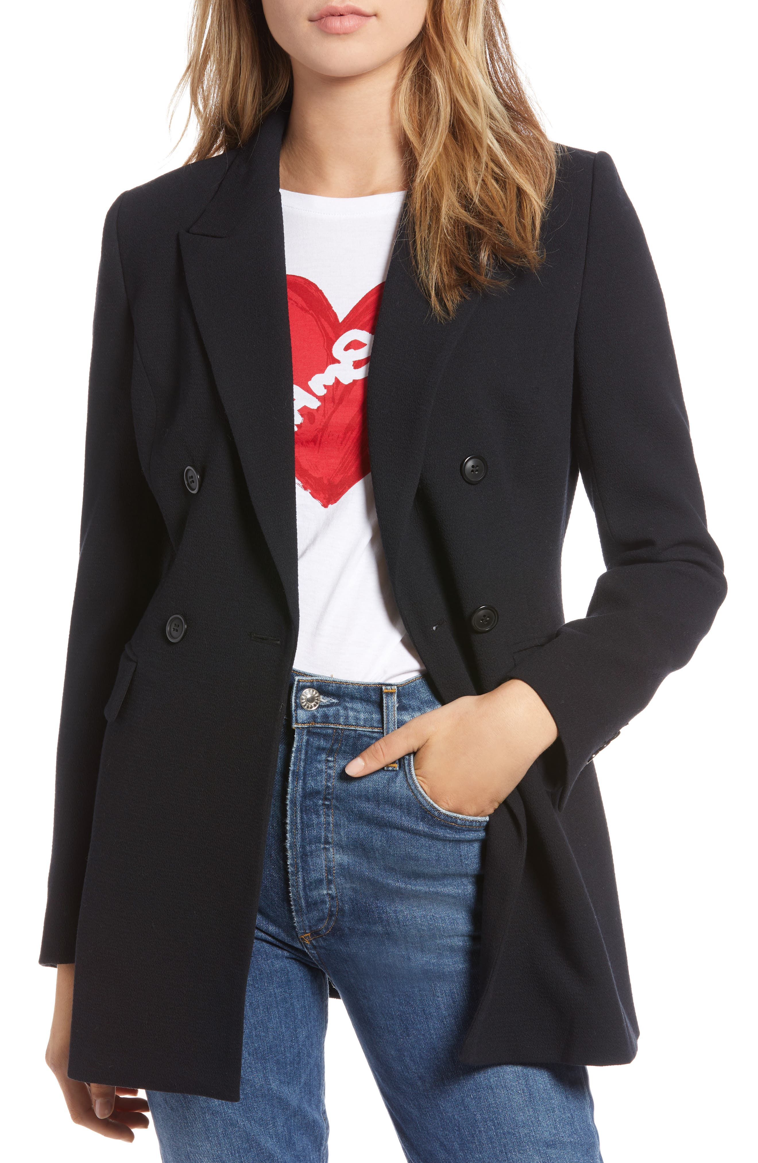 Double Breasted Crepe Blazer,                         Main,                         color, 001