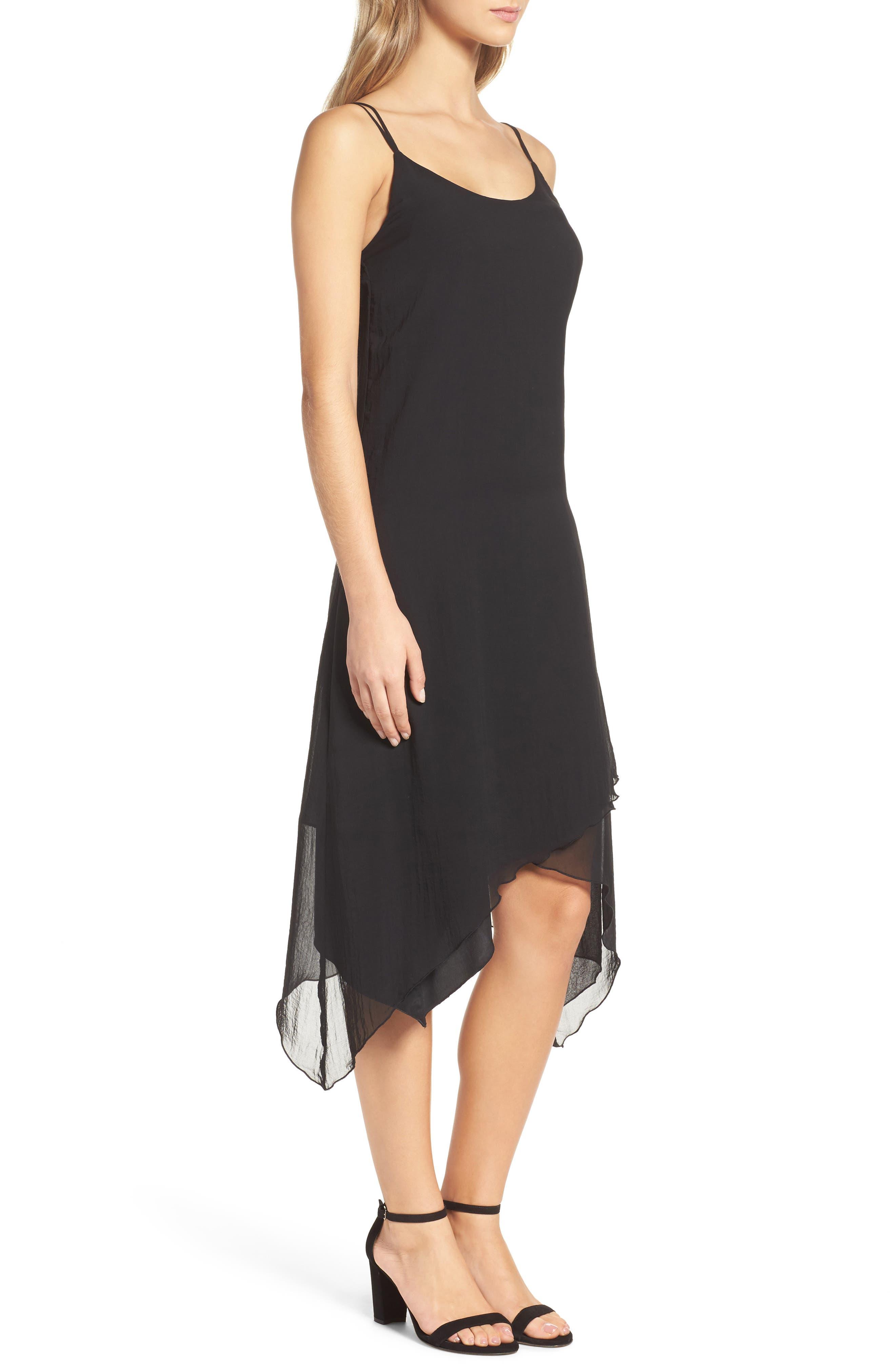 Chiffon Midi Dress,                             Alternate thumbnail 3, color,                             001