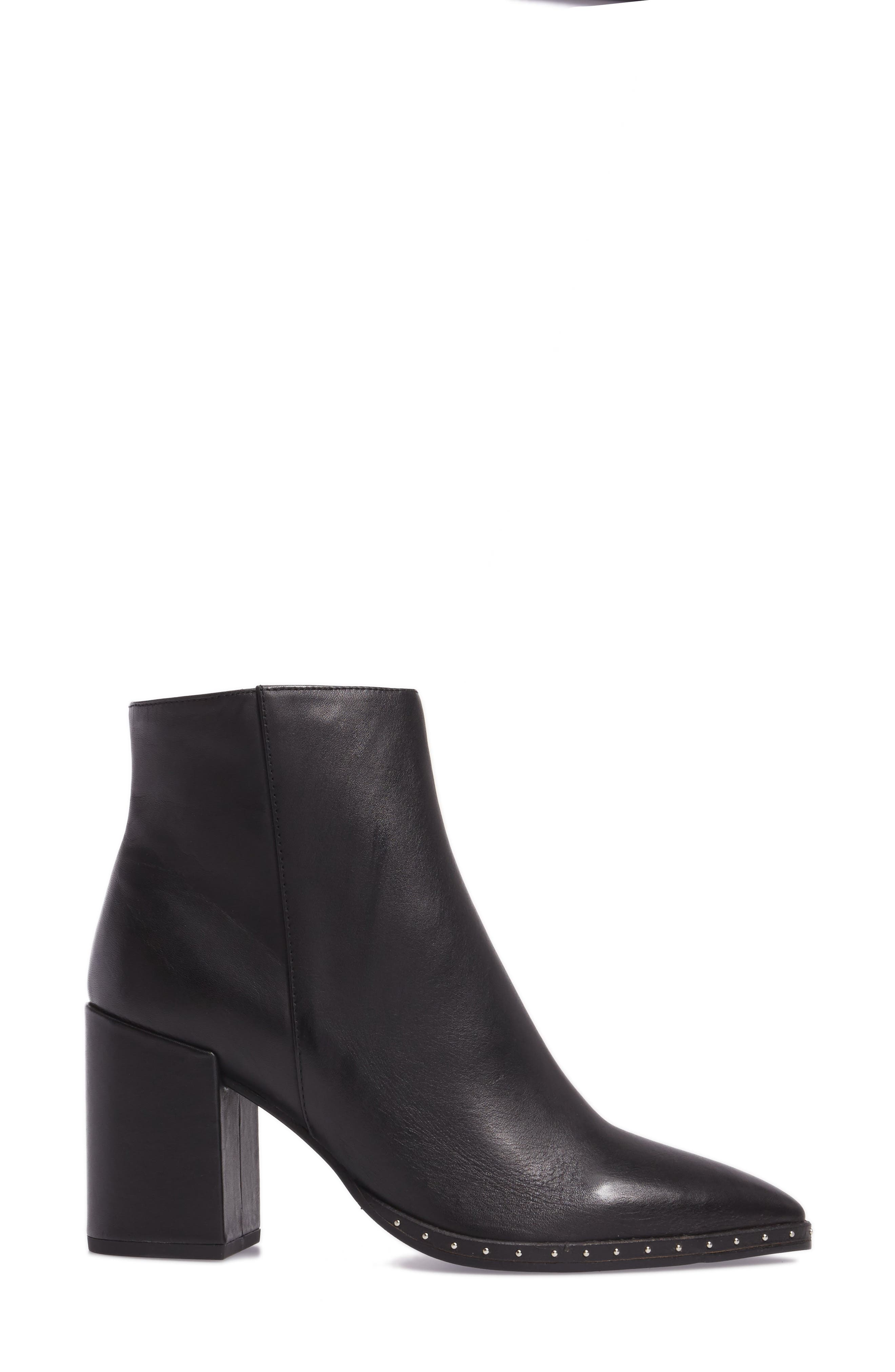 Bailey Pointy Toe Bootie,                             Alternate thumbnail 3, color,                             BLACK ALBANY LEATHER