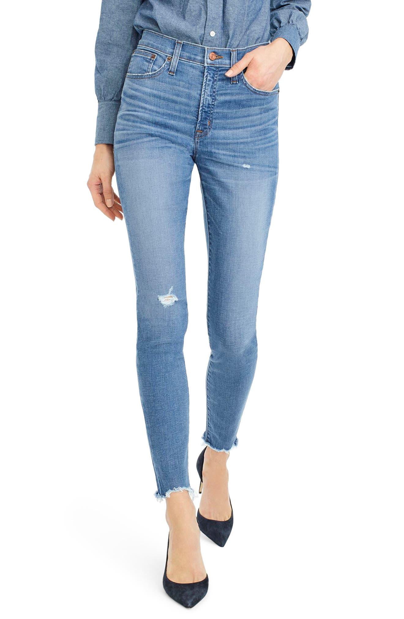 High Rise Cut Hem Toothpick Jeans,                         Main,                         color, 400