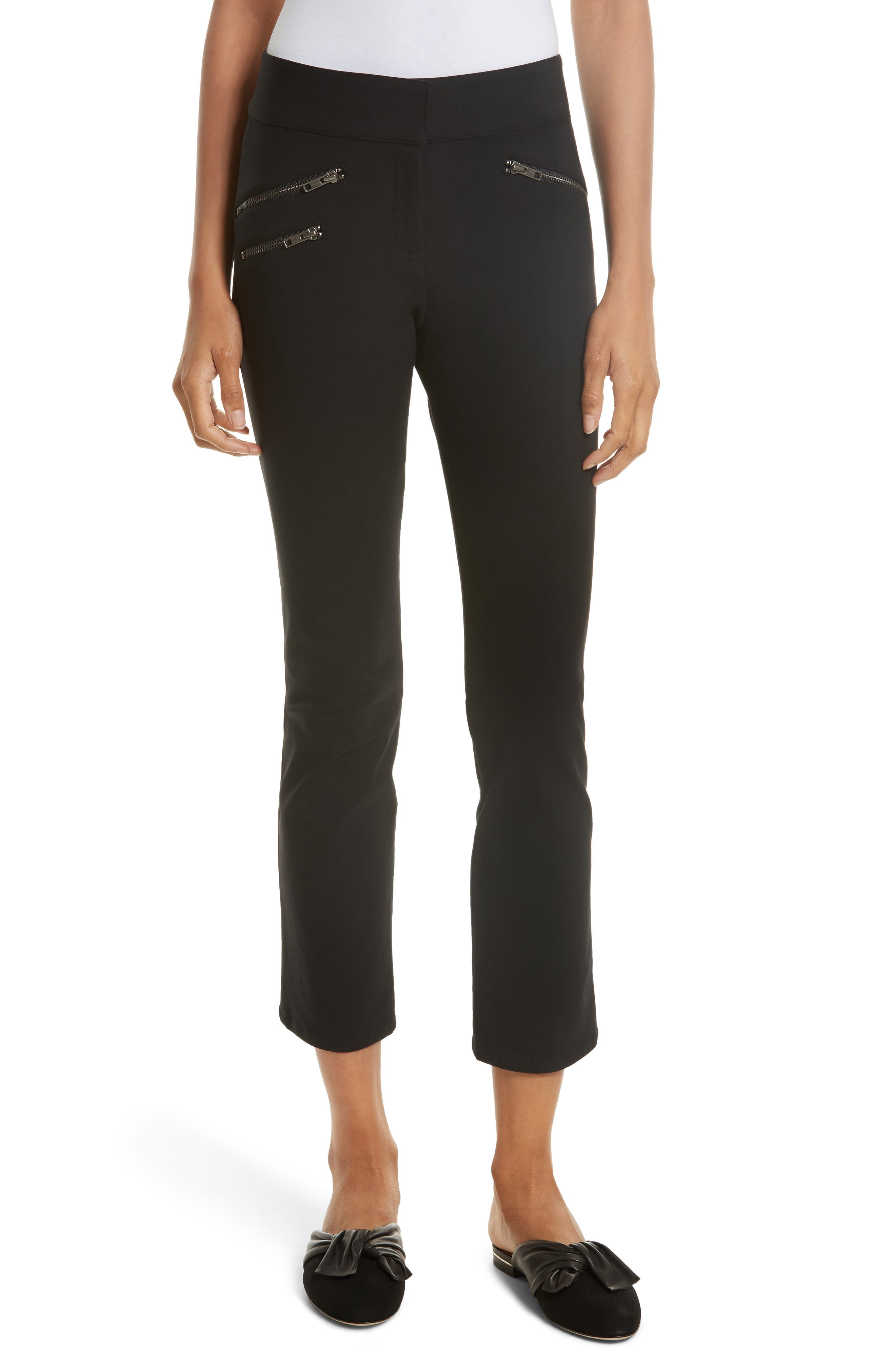 Adelaide Zipper Detail Crop Pants,                             Main thumbnail 1, color,                             001