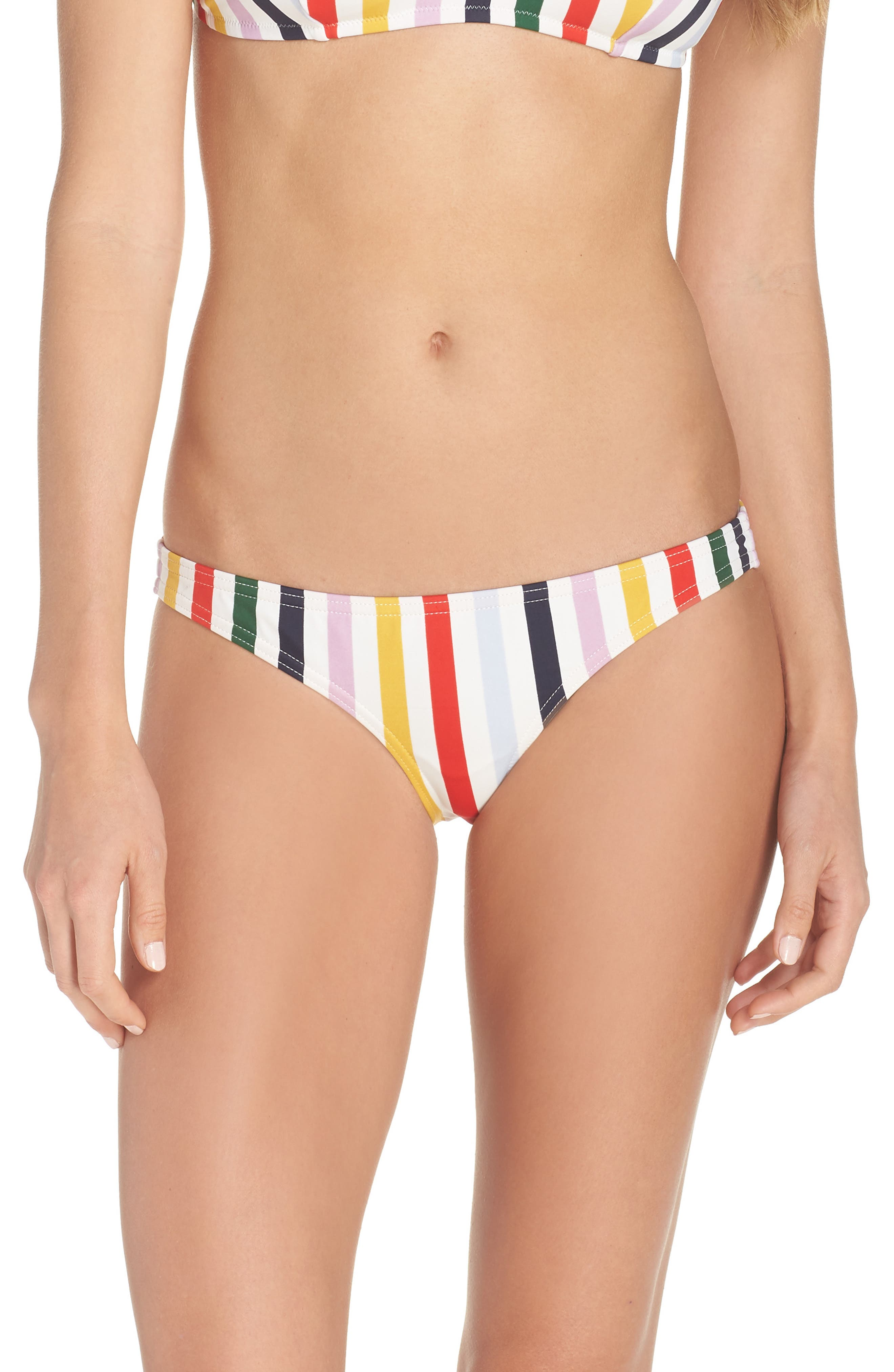 Holiday Stripe Lowrider Bikini Bottoms,                             Main thumbnail 1, color,                             IVORY RICH GOLD MULTI