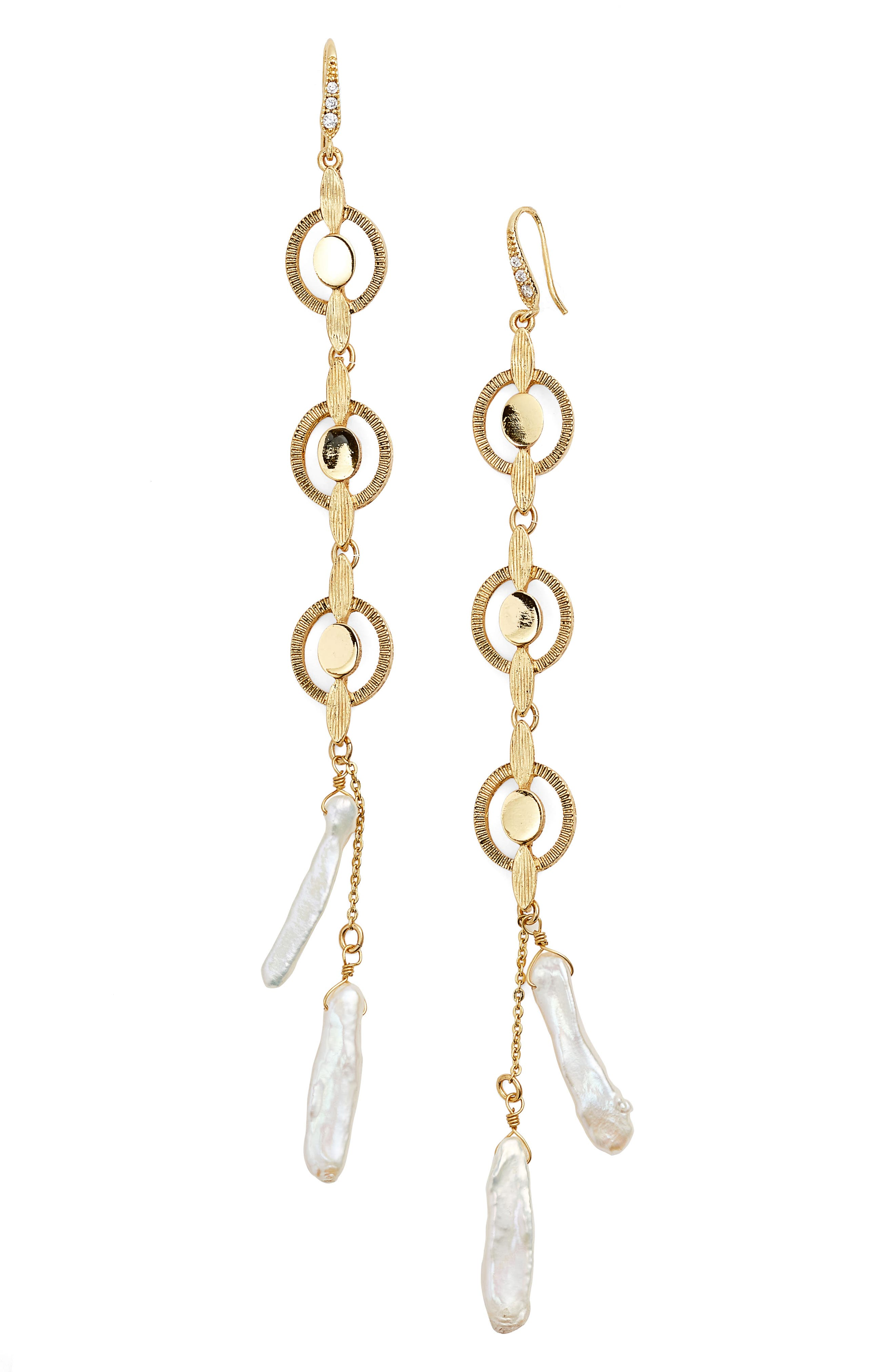 BADGLEY MISCHKA COLLECTION,                             Badgley Mischka Katie Freshwater Pearl Linear Drop Earrings,                             Main thumbnail 1, color,                             GOLD