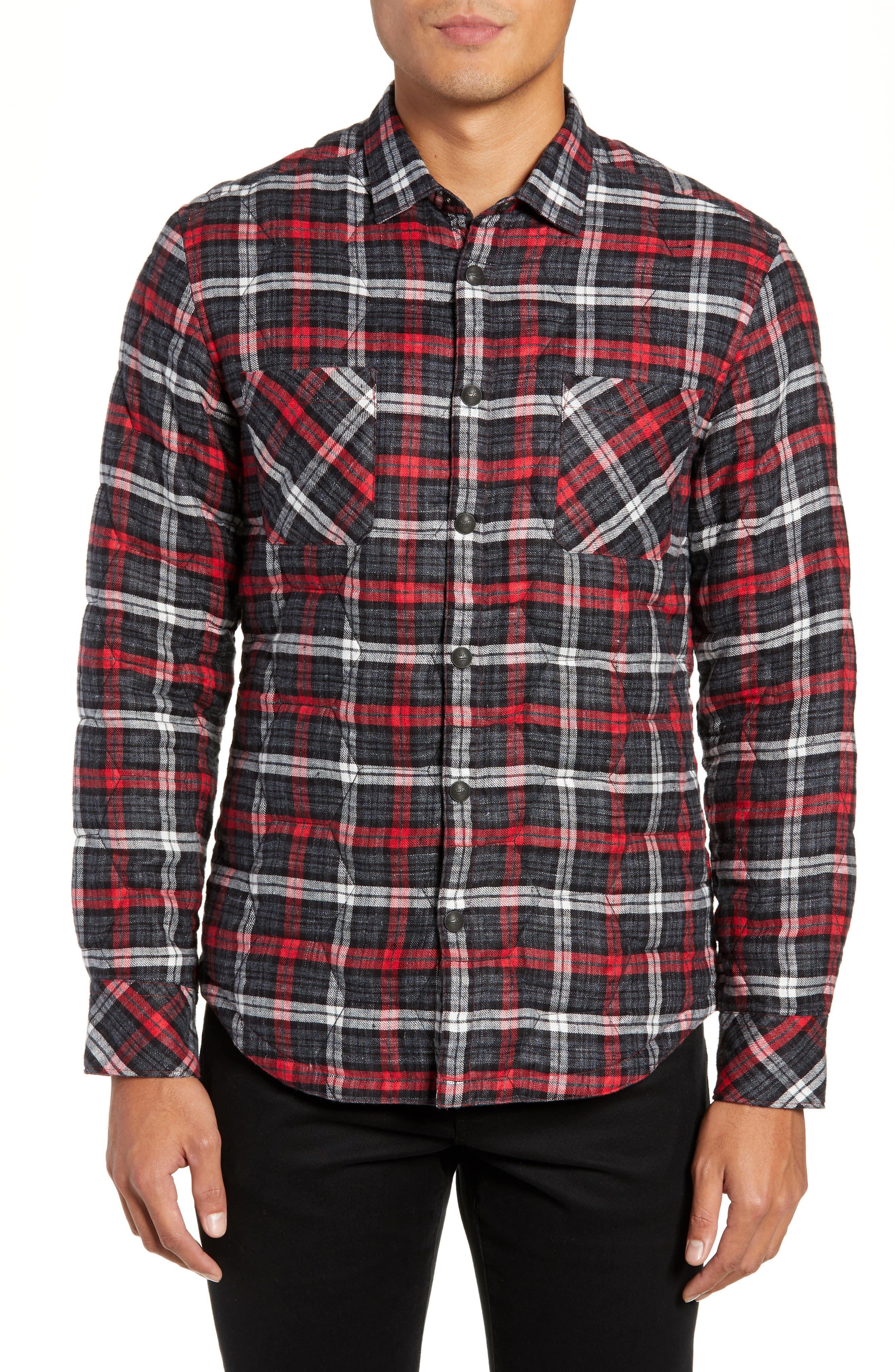 Slim Fit Linen Plaid Shirt Jacket,                             Alternate thumbnail 4, color,                             CHARCOAL