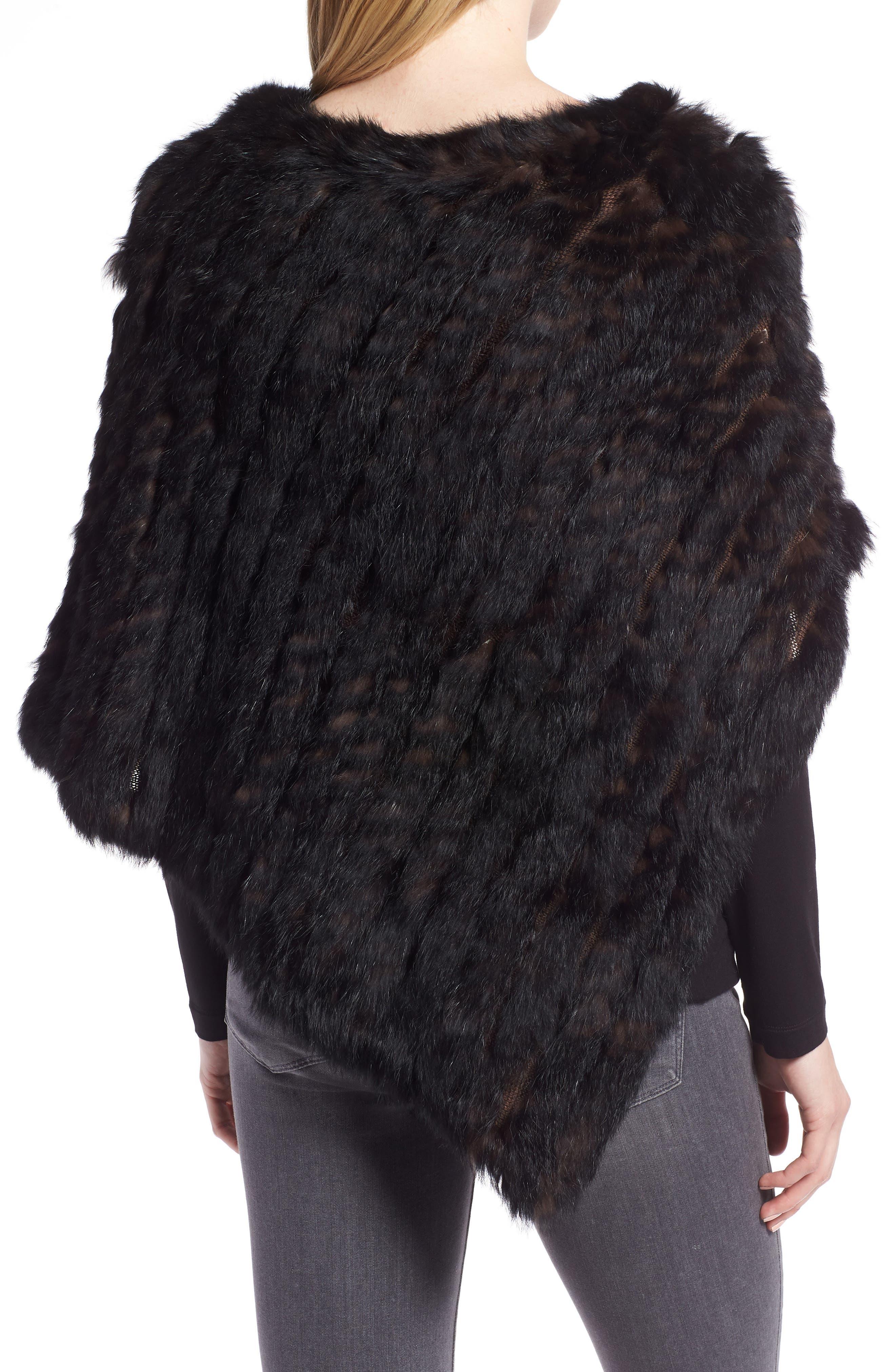 Genuine Rabbit Fur Poncho,                             Alternate thumbnail 2, color,                             BROWN