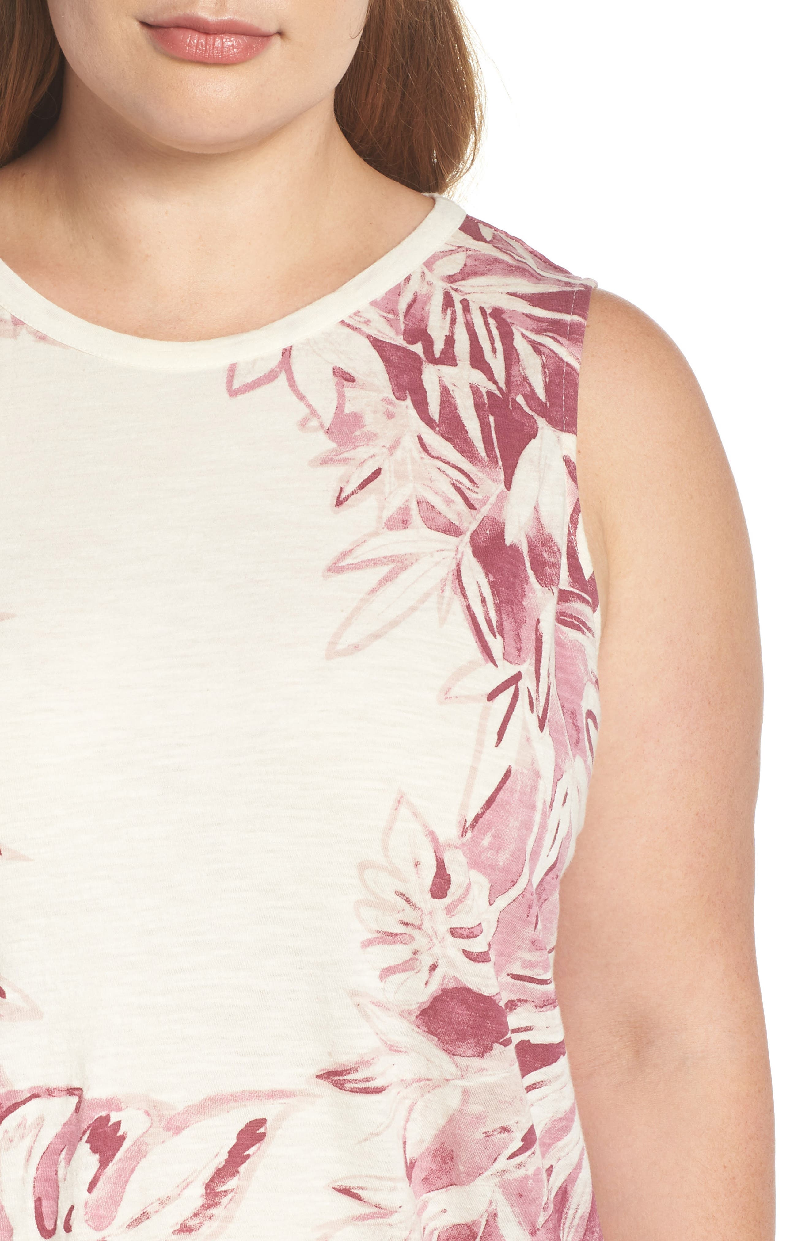 Print Floral Tank,                             Alternate thumbnail 4, color,                             BERRY MULTI