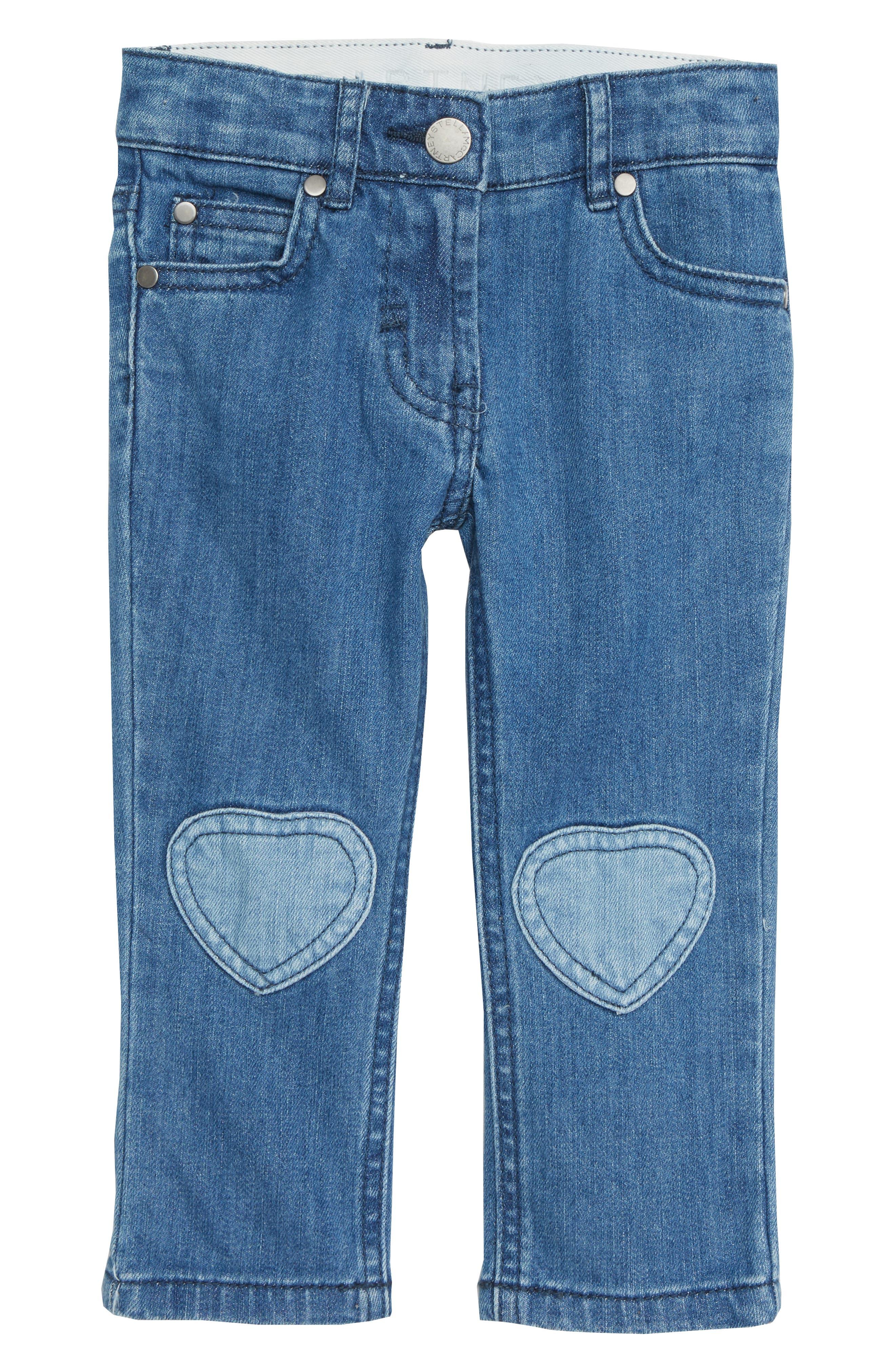 Heart Patch Straight Leg Jeans,                             Main thumbnail 1, color,                             BLUE