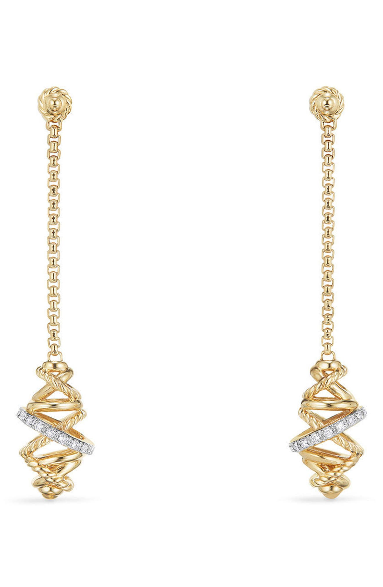 Crossover Chain Drop Earrings with Diamonds in 18K Gold,                         Main,                         color, YELLOW GOLD/ DIAMOND