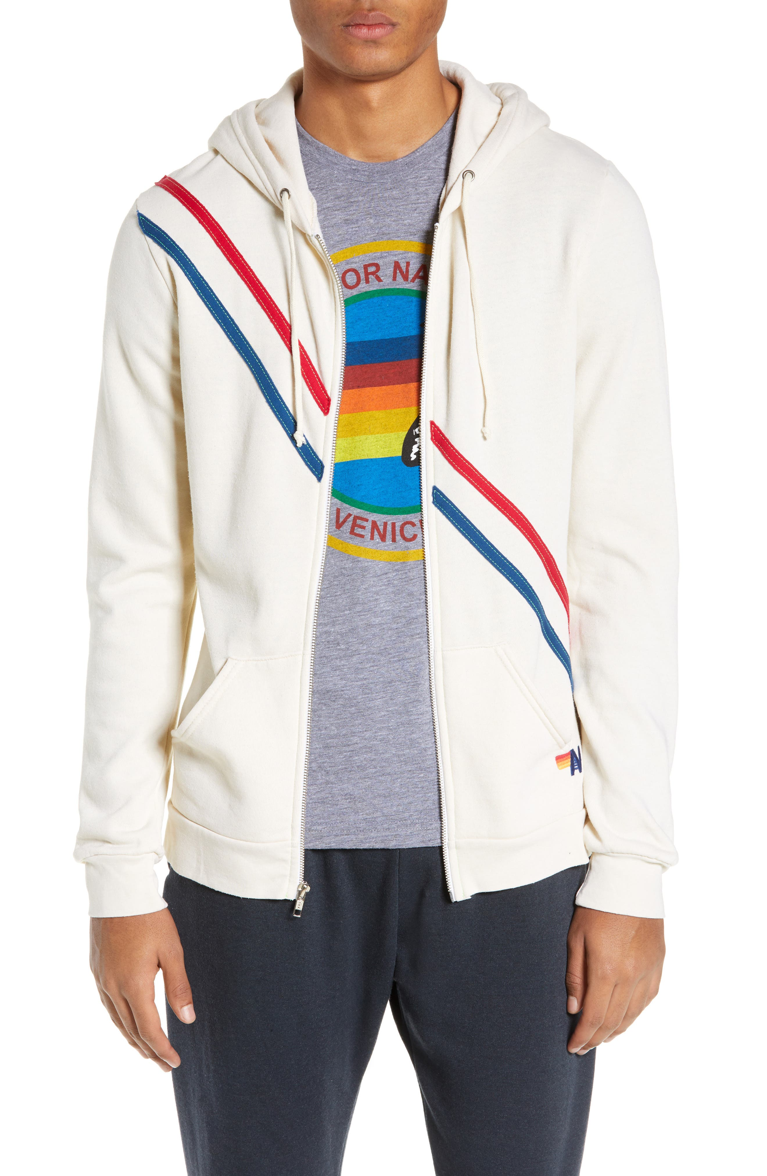 AVIATOR NATION Pray For Surf Zip Hoodie in Vintage White