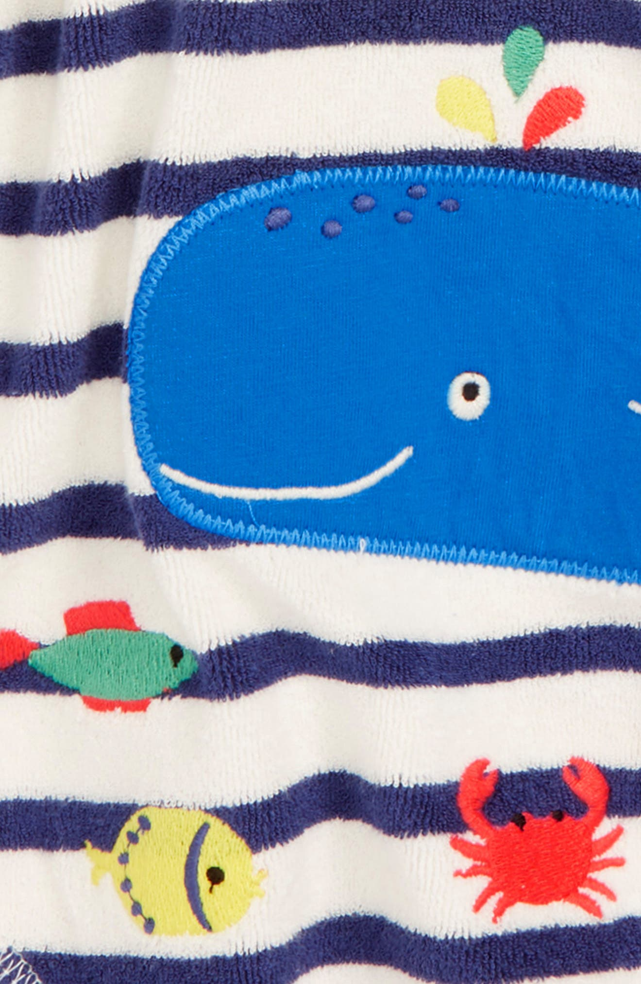 MINI BODEN,                             Whale Appliqué Hooded Cover-Up,                             Alternate thumbnail 2, color,                             NAV STARBOARD BLUE/ ECRU WHALE