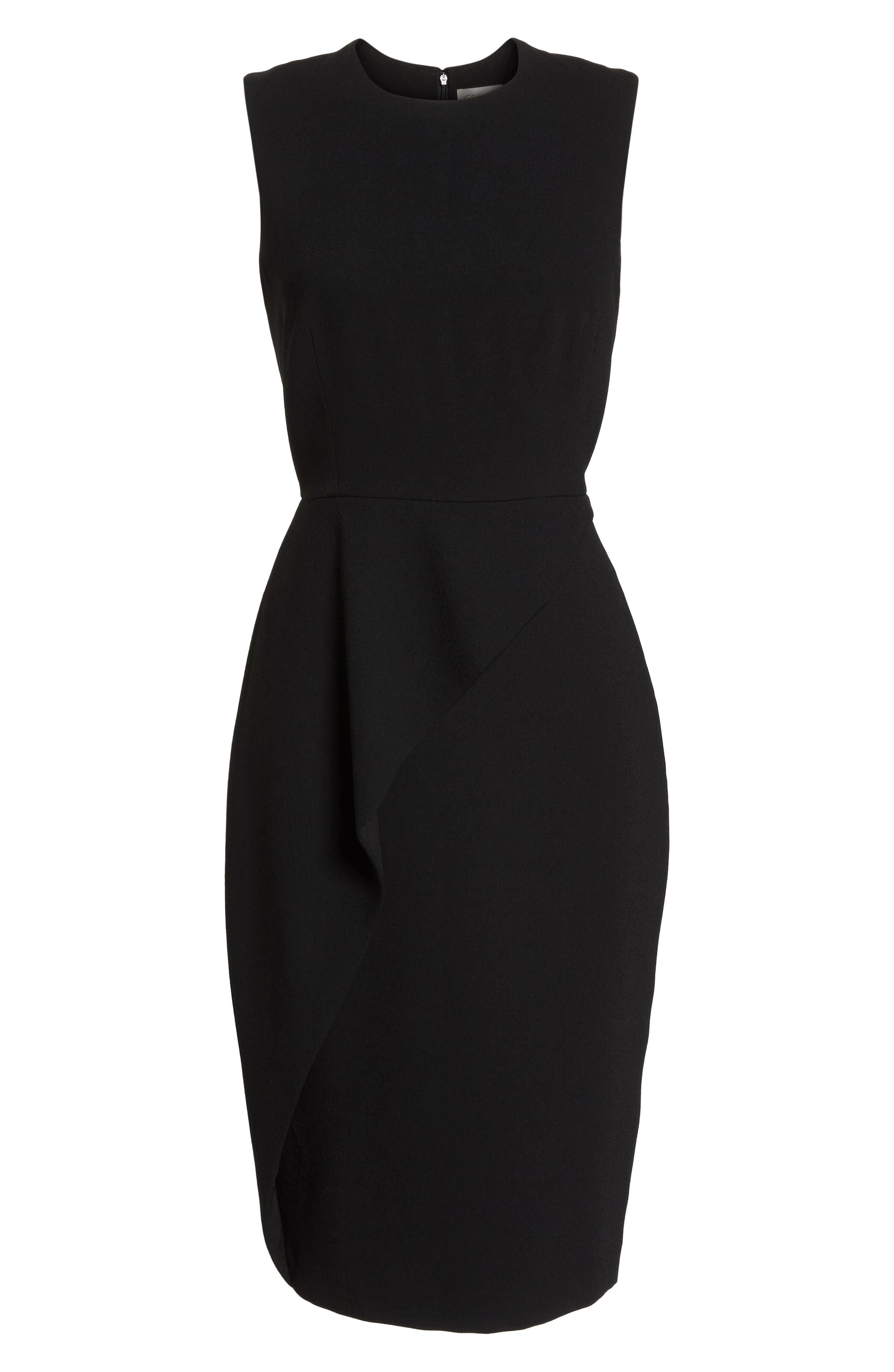 Asymmetrical Ruffle Sheath Dress,                             Alternate thumbnail 7, color,                             001
