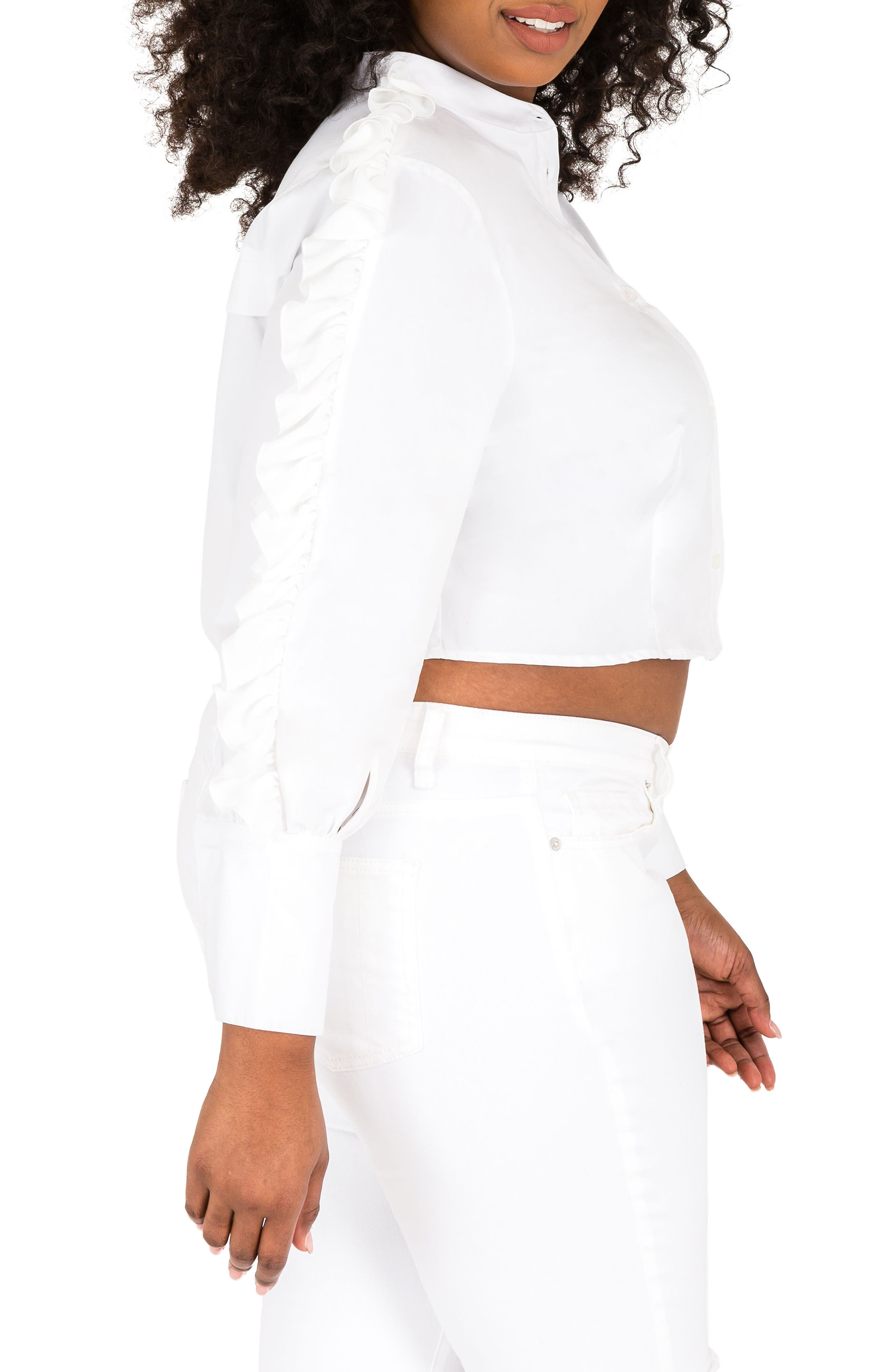 Mayasia Ruffle Sleeve Crop Shirt,                             Alternate thumbnail 3, color,                             WHITE