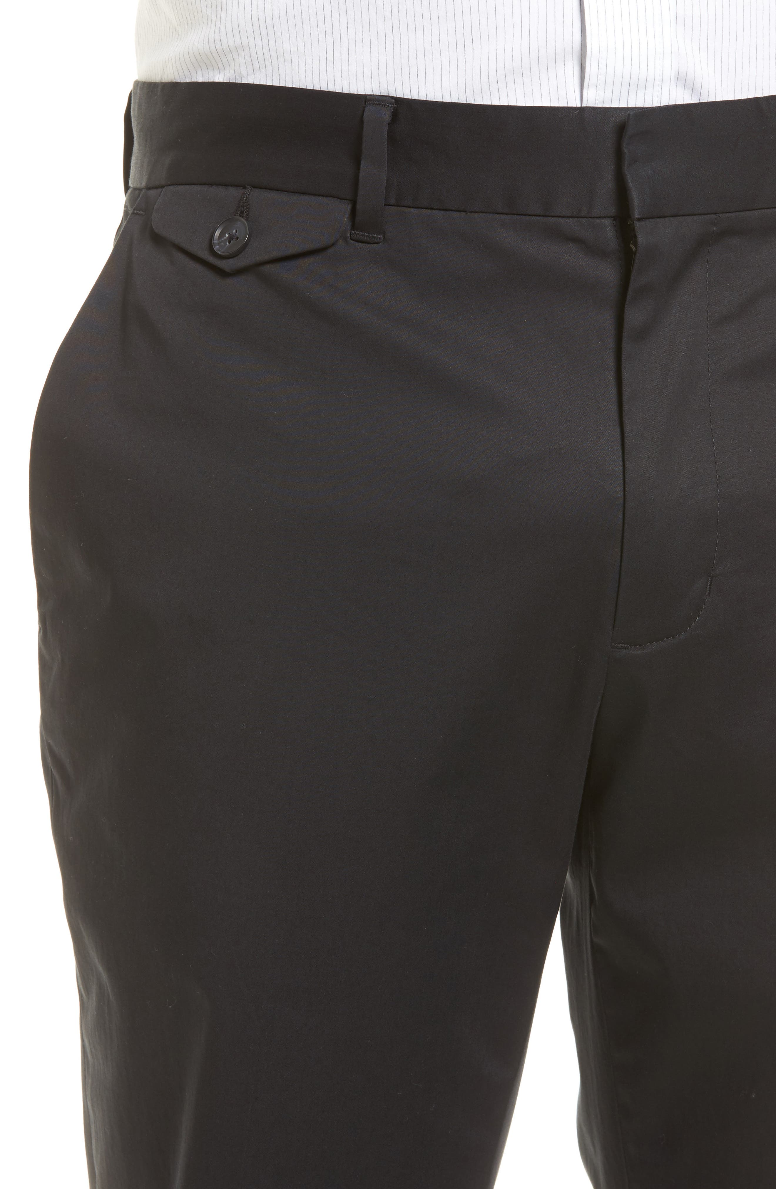 Officer Flat Front Chino Pants,                             Alternate thumbnail 4, color,                             001