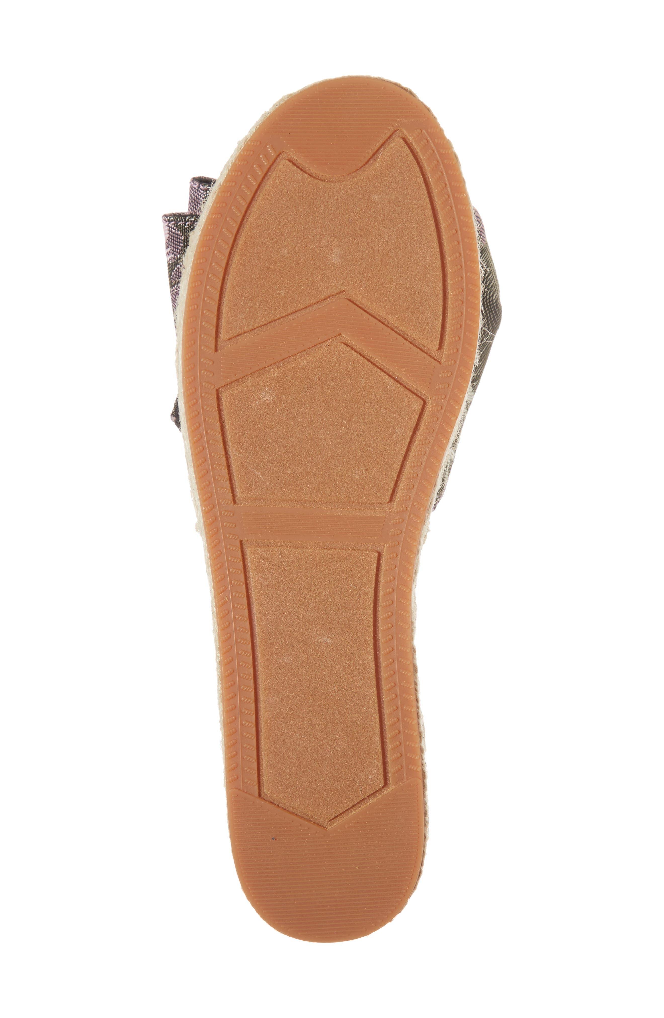 Giana Bow Slide Sandal,                             Alternate thumbnail 6, color,                             GREEN MULTI JACQUARD