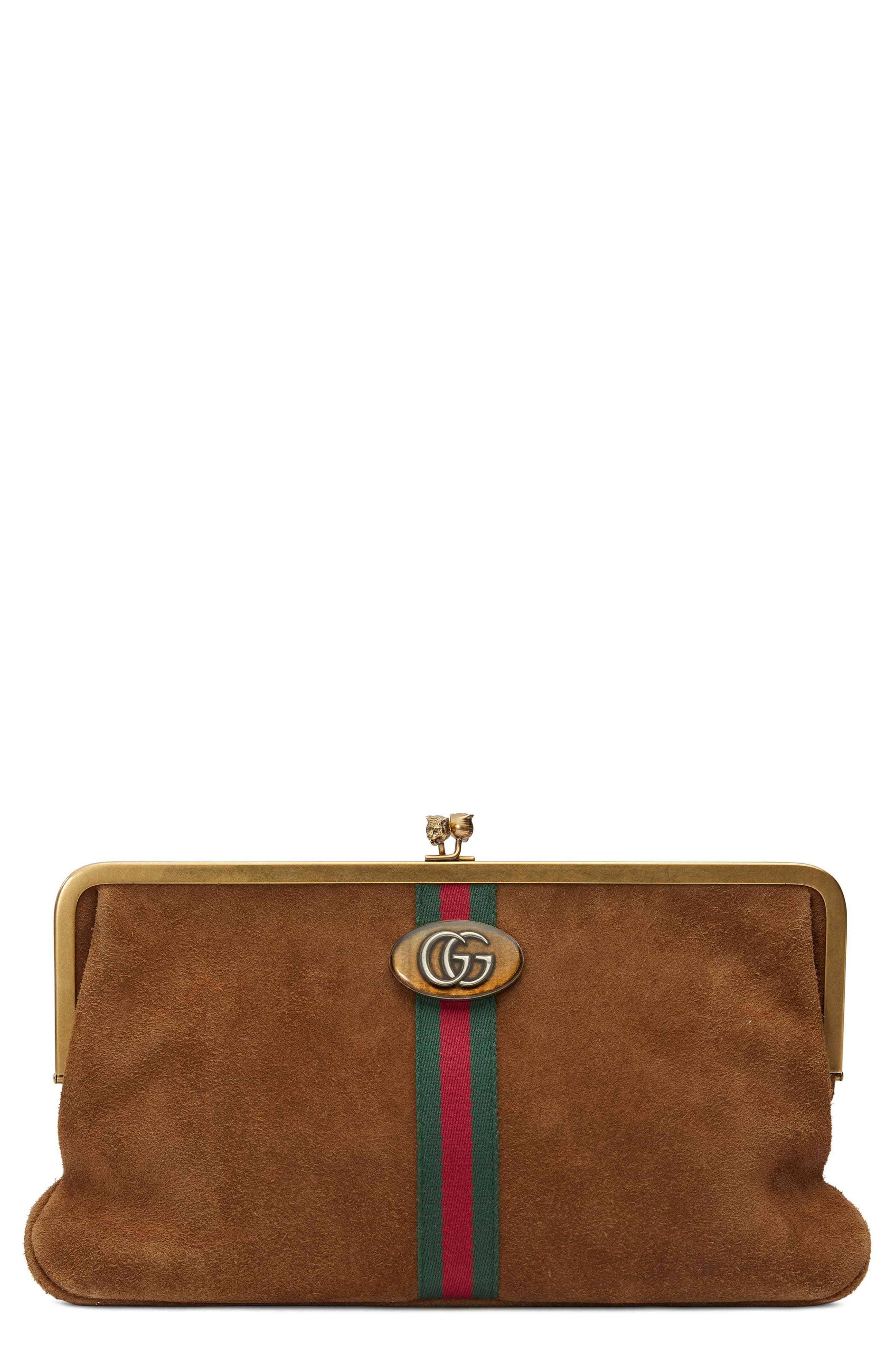 Ophidia Suede Frame Clutch,                         Main,                         color, 200