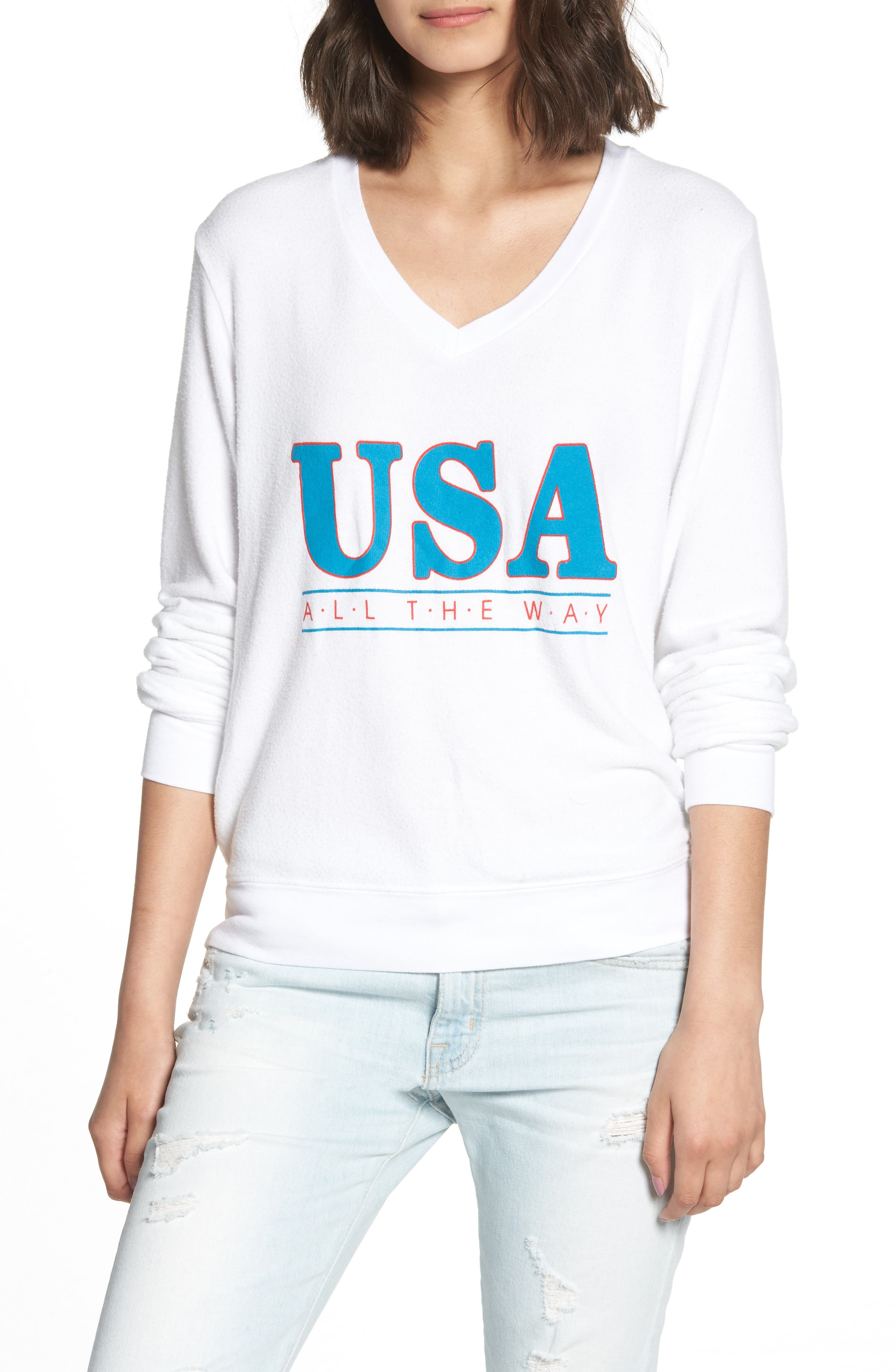 All the Way Baggy Beach Pullover,                             Main thumbnail 1, color,                             CLEAN WHITE