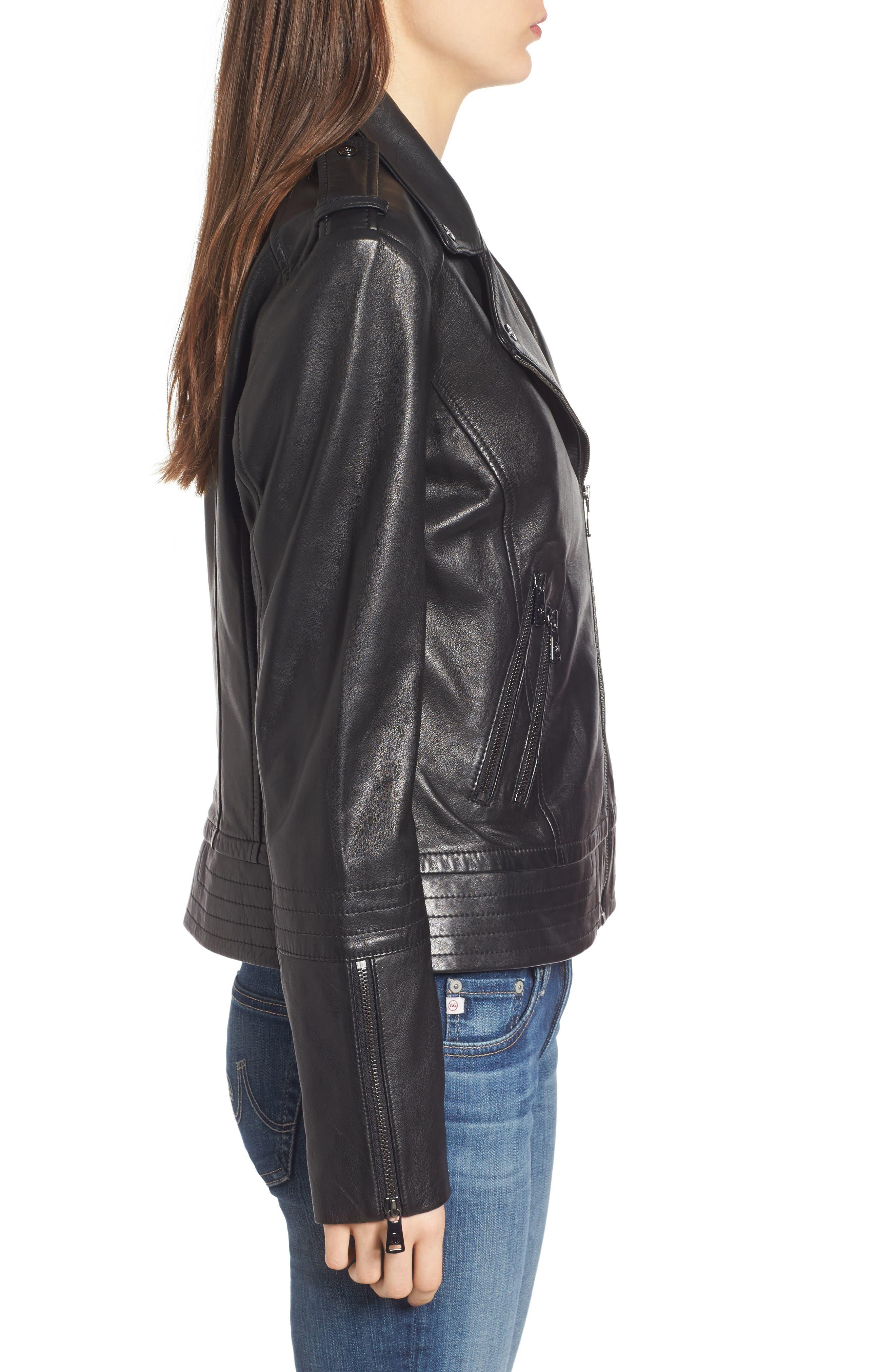 Lirio Moto Jacket,                             Alternate thumbnail 3, color,                             001