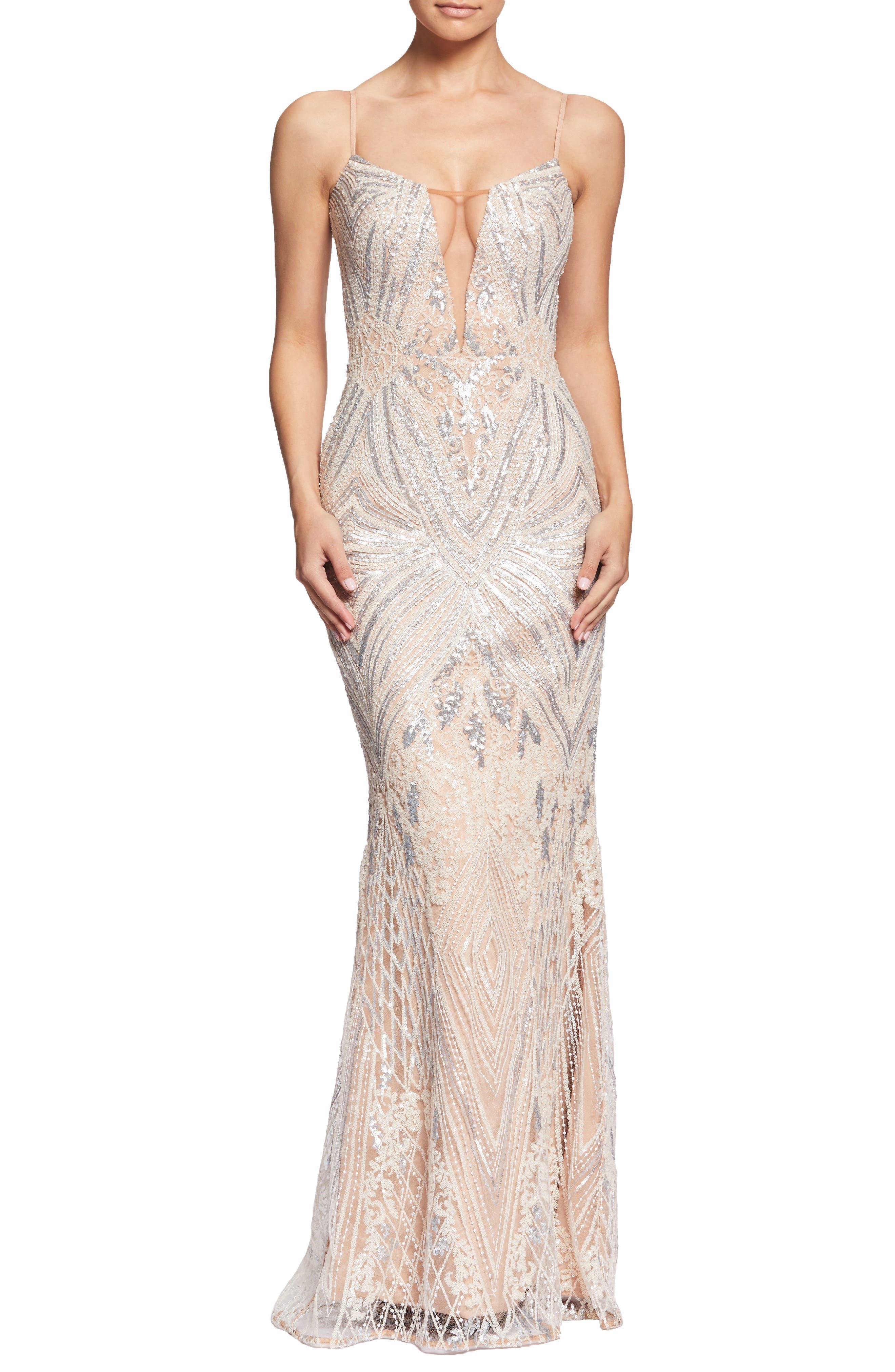 Dress The Population Mara Art Deco Sequin Trumpet Gown, Pink