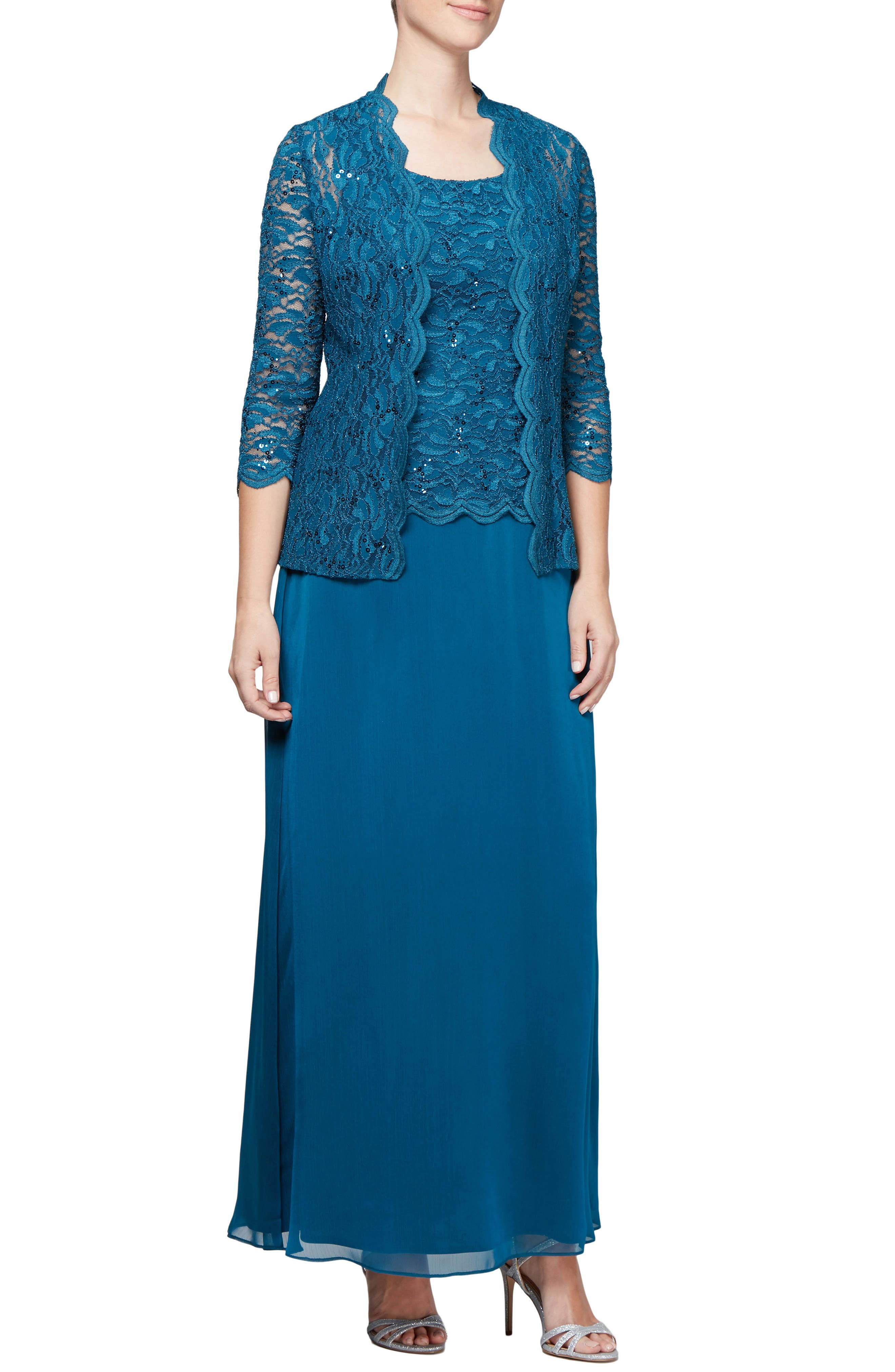 Sequin Lace & Chiffon Gown with Jacket,                             Main thumbnail 1, color,                             PEACOCK