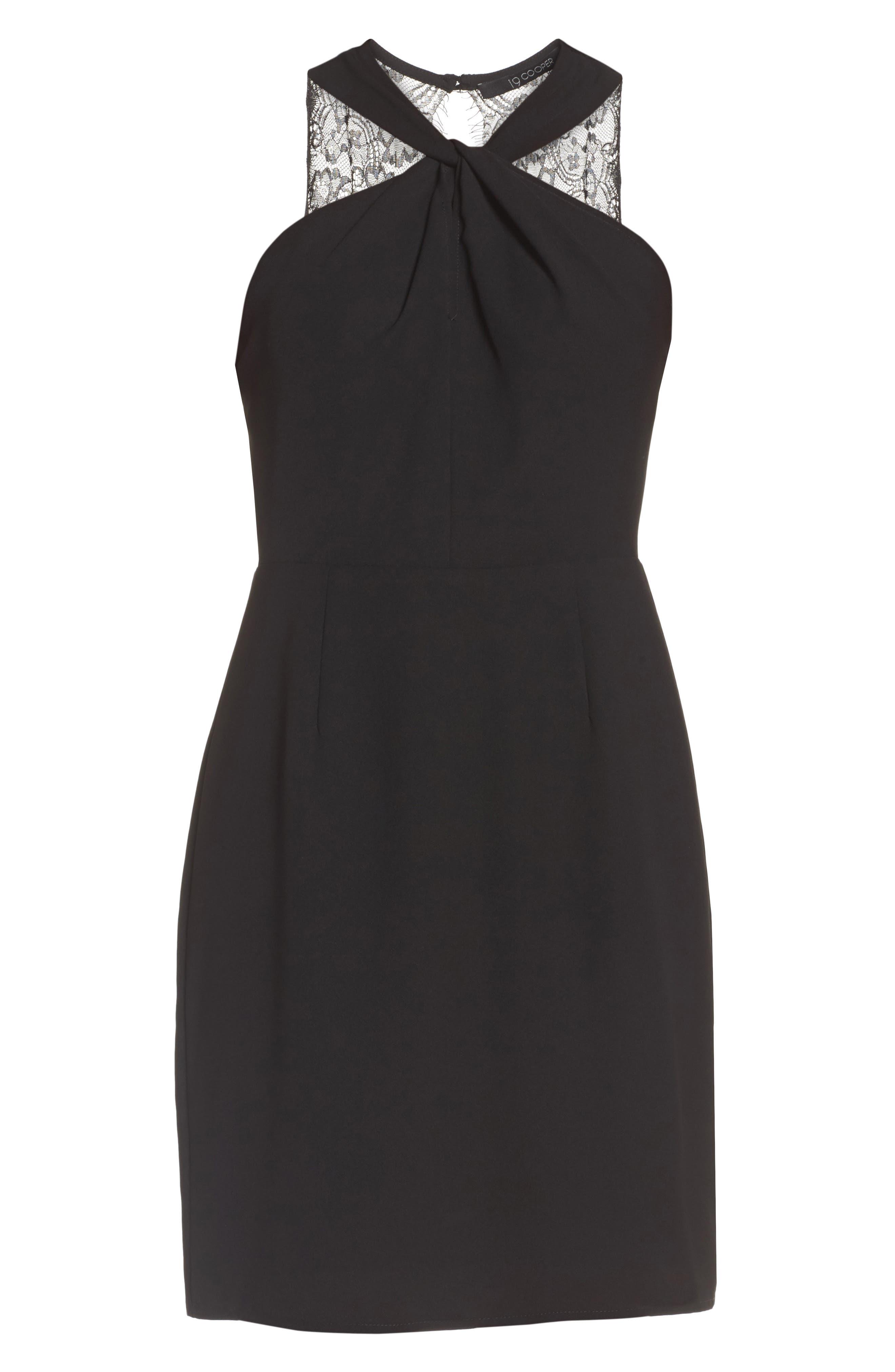 Lace Back Sheath Dress,                             Alternate thumbnail 6, color,                             001