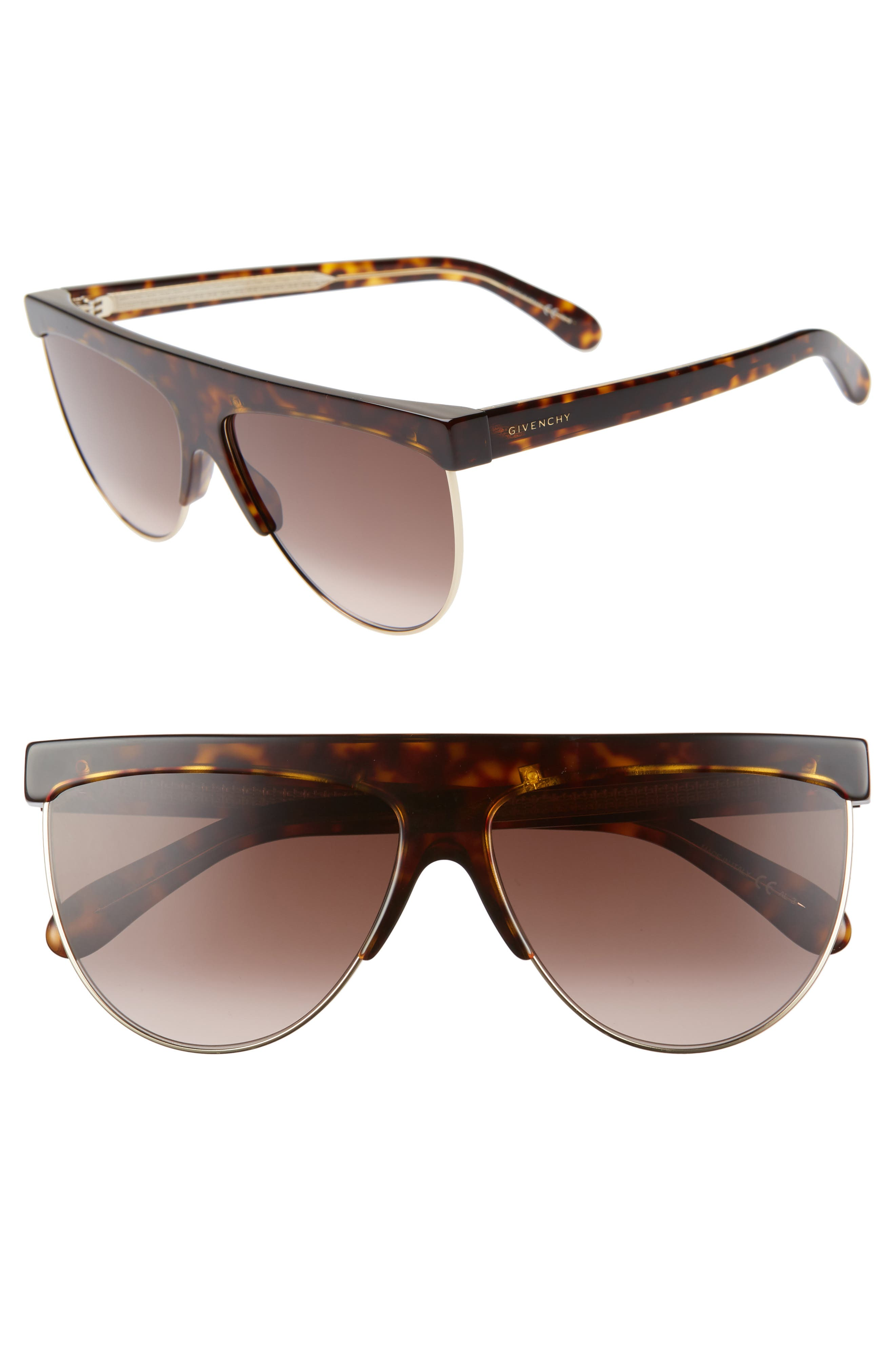 Givenchy 62Mm Oversize Flat Top Sunglasses - Dark Havana/ Gold