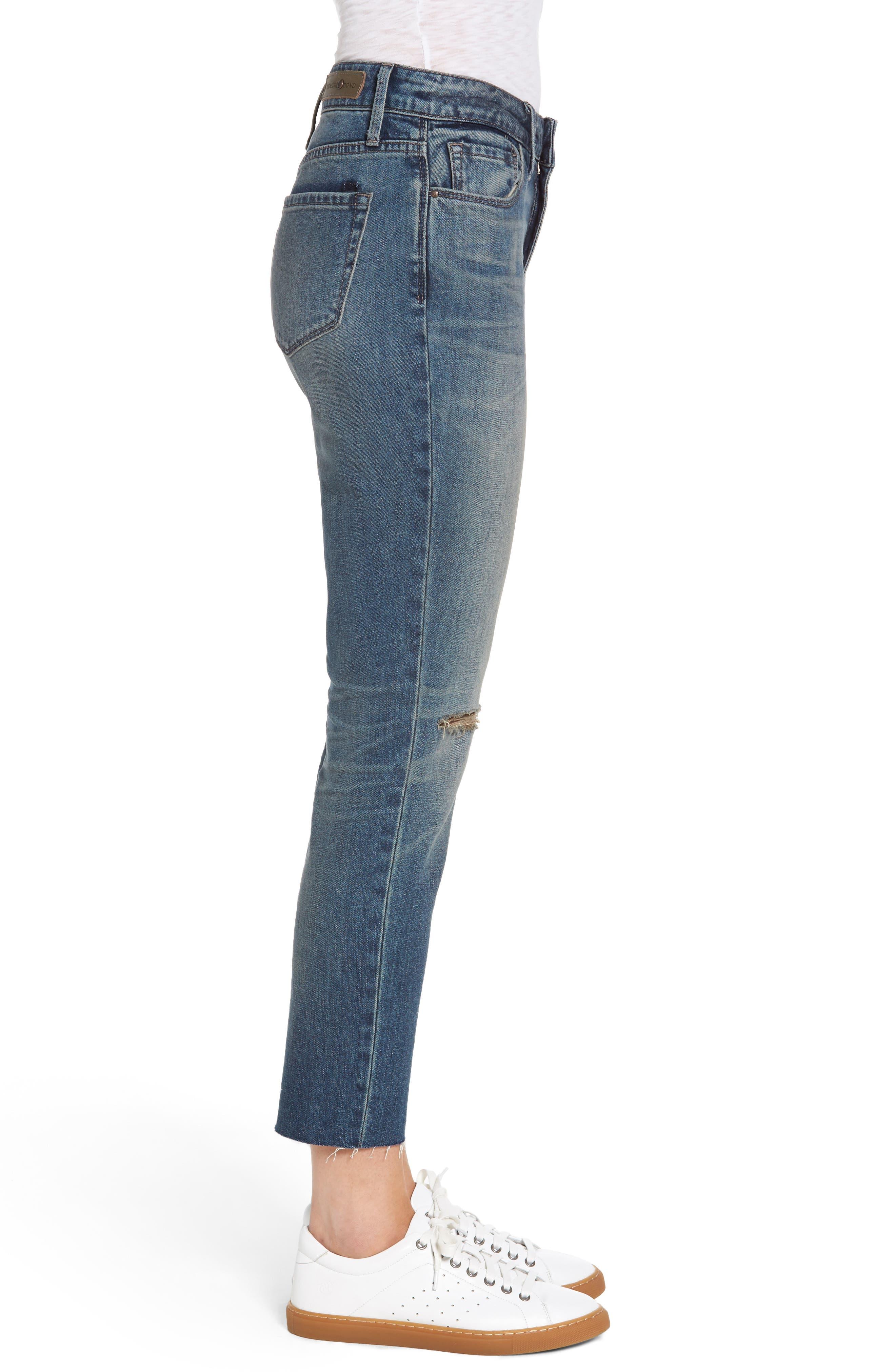 High Waist Skinny Crop Jeans,                             Alternate thumbnail 3, color,                             400