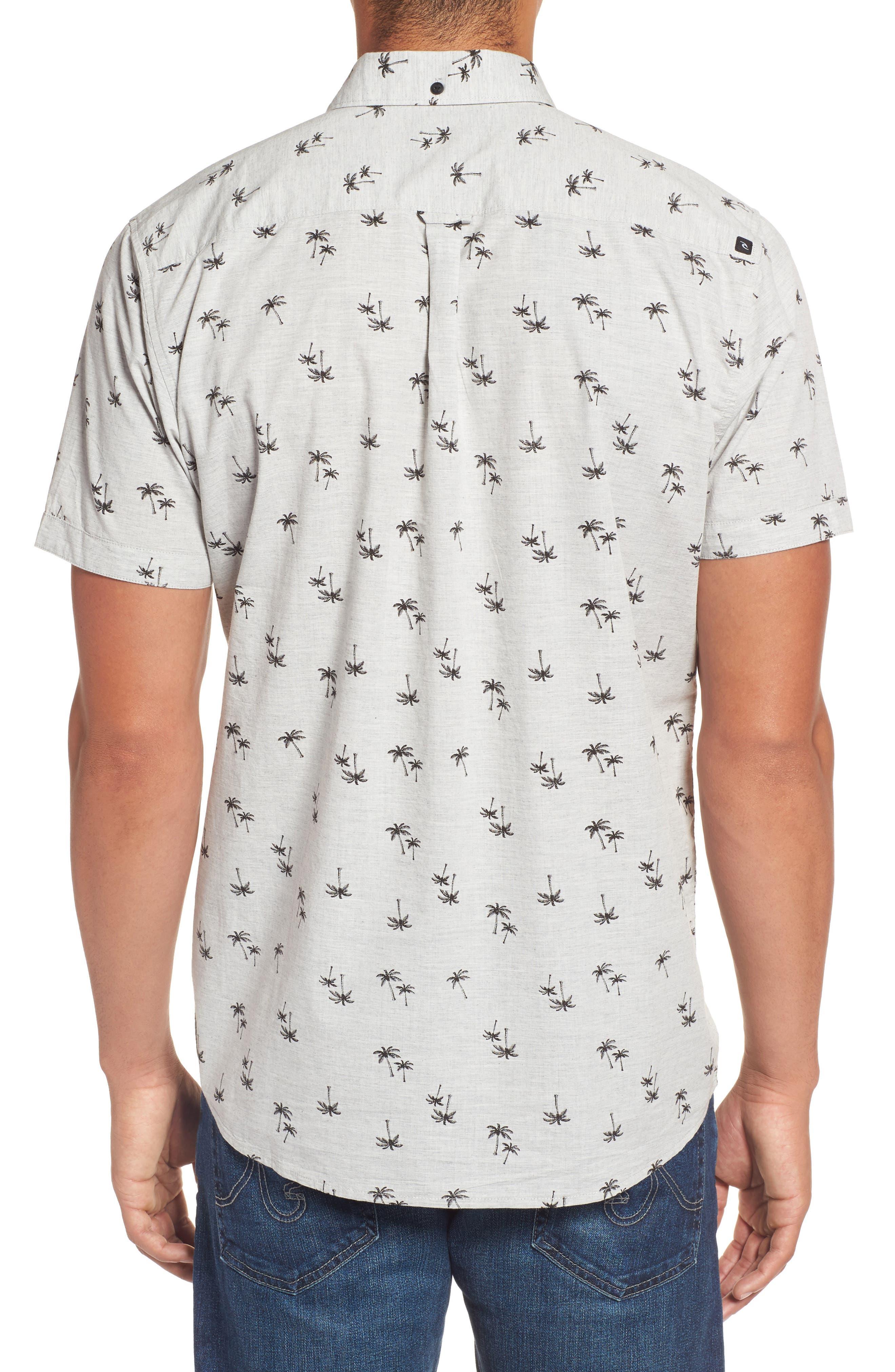 Palm Tree Print Woven Shirt,                             Alternate thumbnail 2, color,                             065