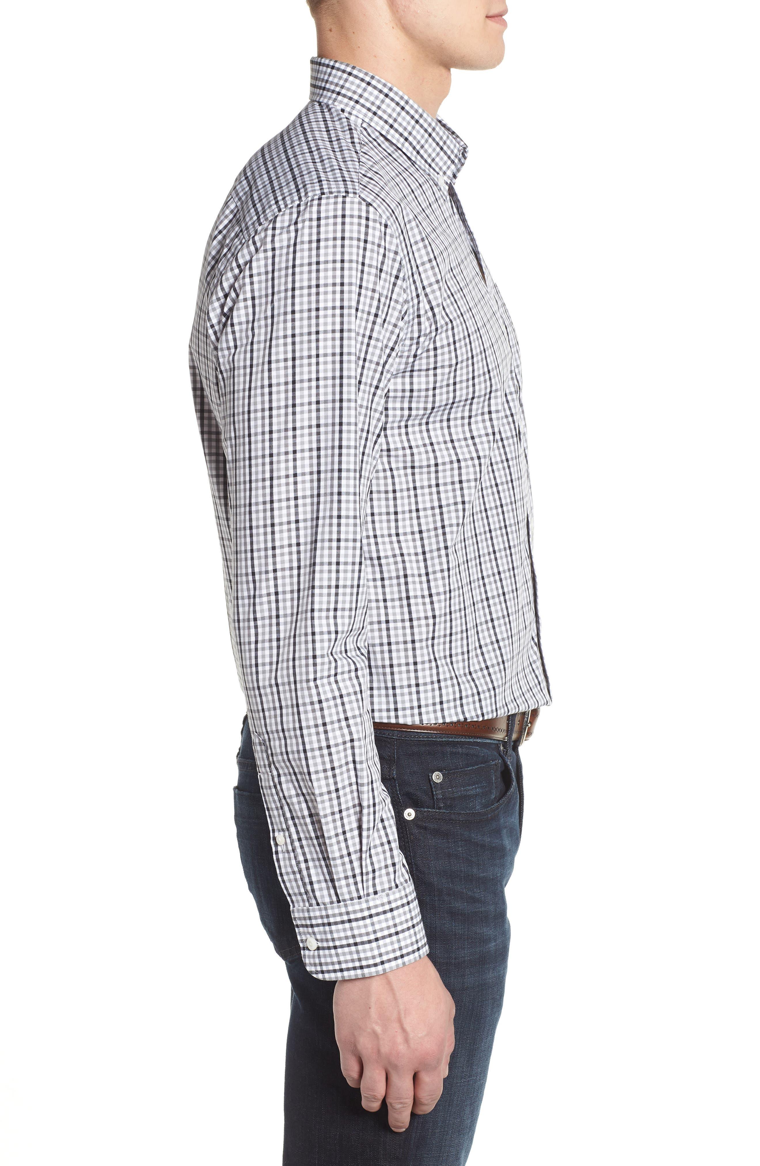 Carolina Panthers - Gilman Regular Fit Plaid Sport Shirt,                             Alternate thumbnail 3, color,                             BLACK