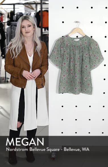 Floral Flutter Sleeve Silk Top, sales video thumbnail