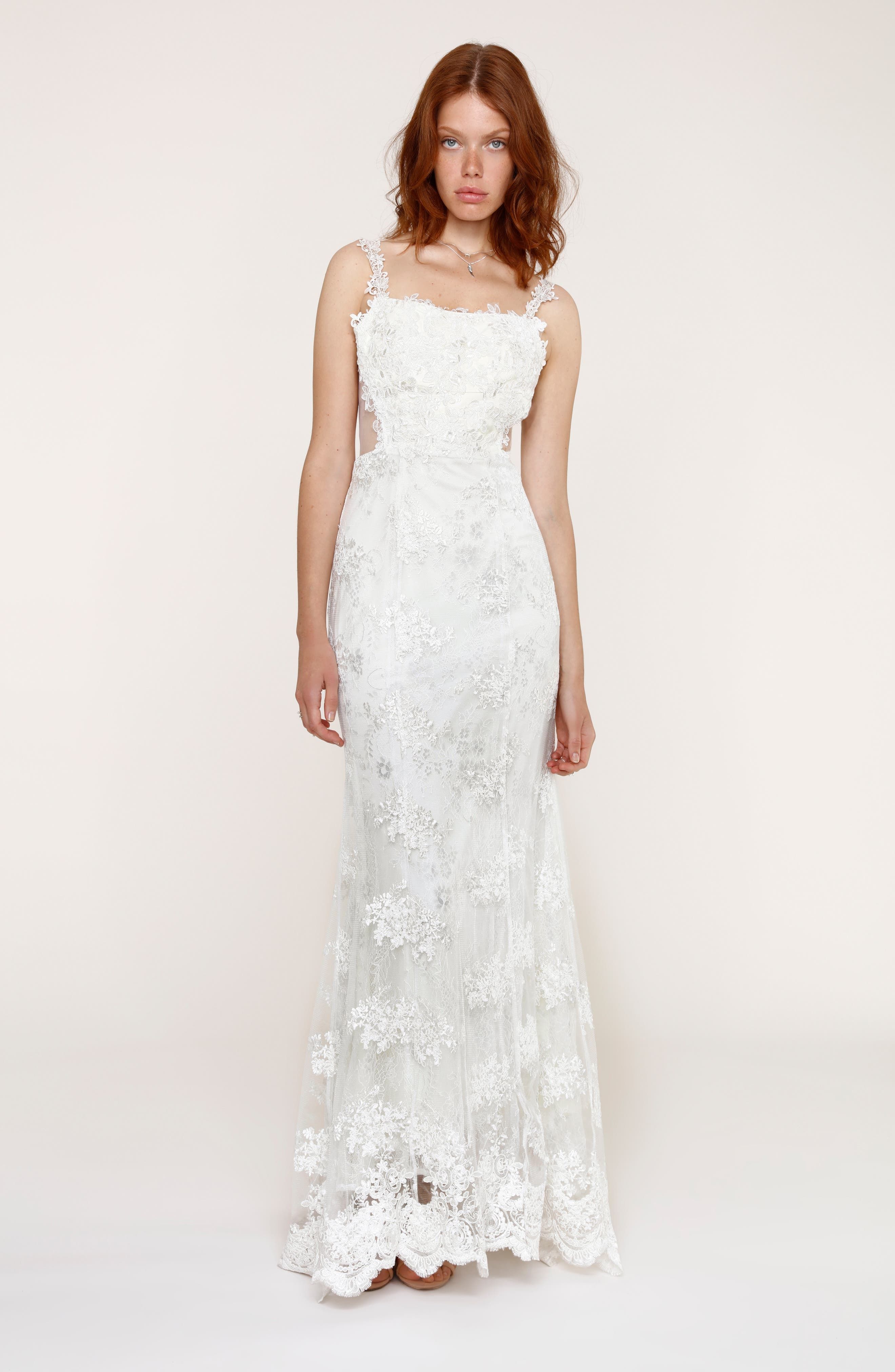 Andie Illusion Side Lace Mermaid Gown,                             Alternate thumbnail 4, color,                             900