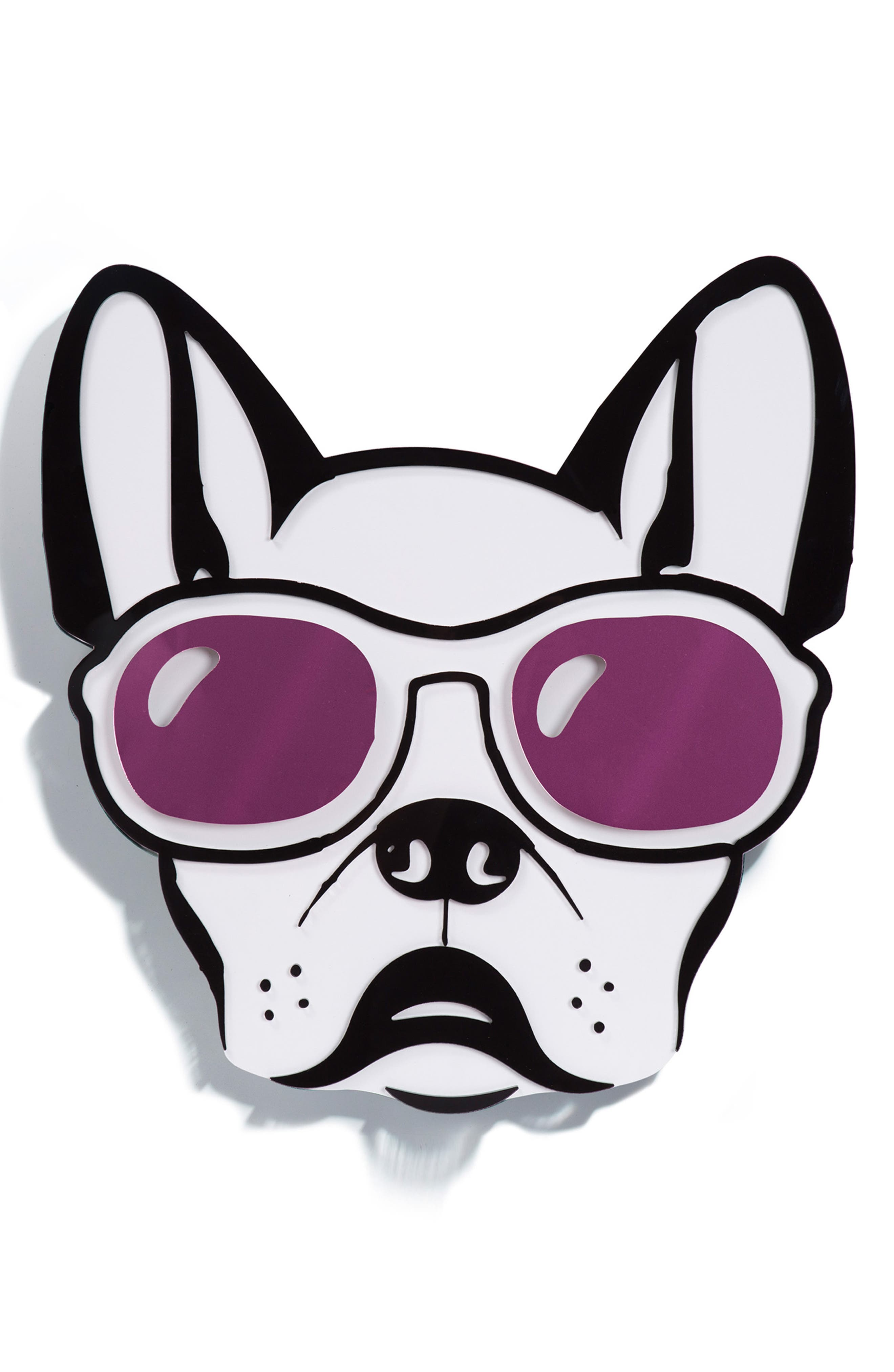 Cool Dog Wall Art,                             Main thumbnail 1, color,                             PURPLE BLACK AND WHITE
