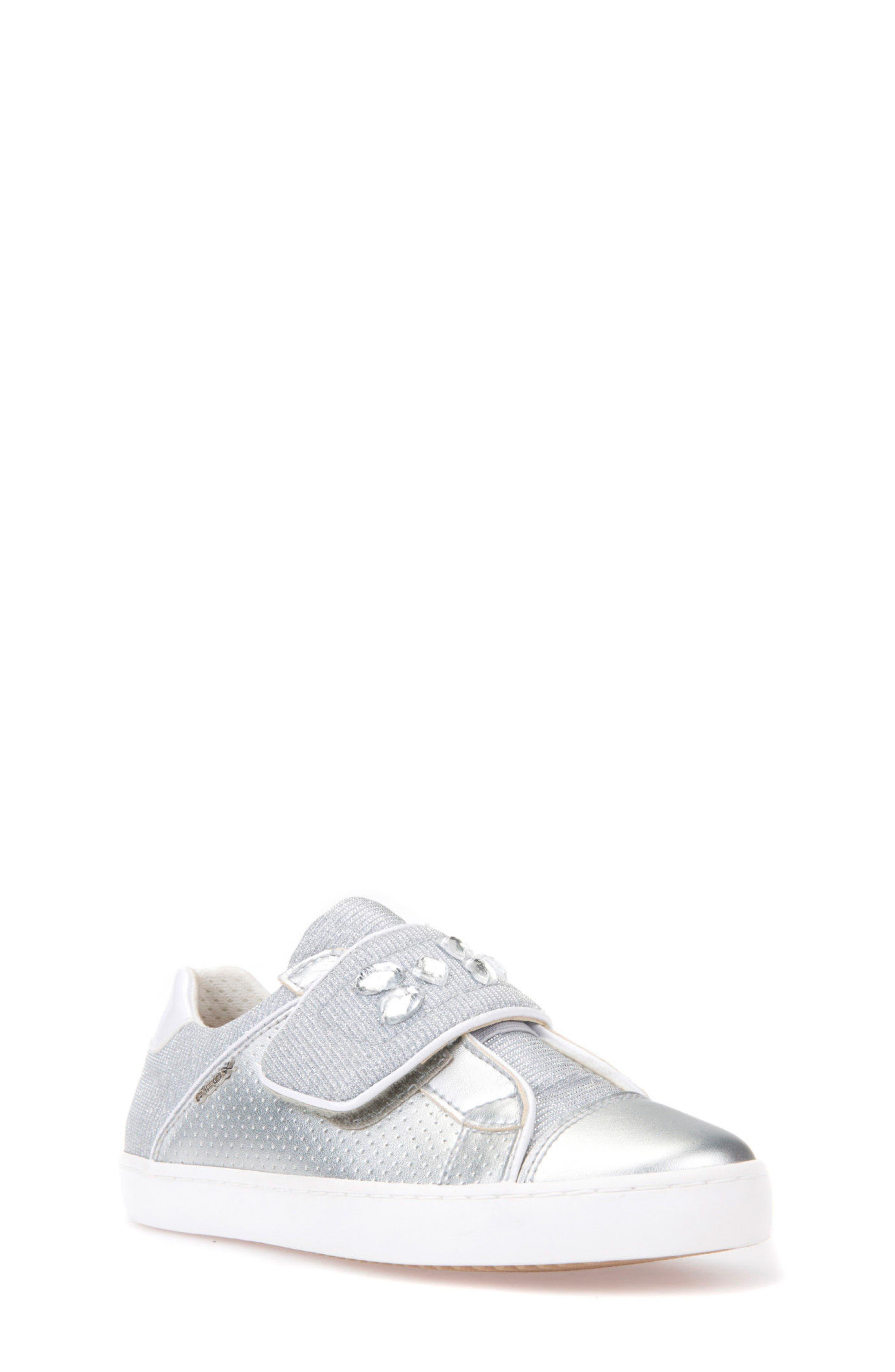 Kilwi Metallic Embellished Sneaker,                             Main thumbnail 1, color,                             SILVER