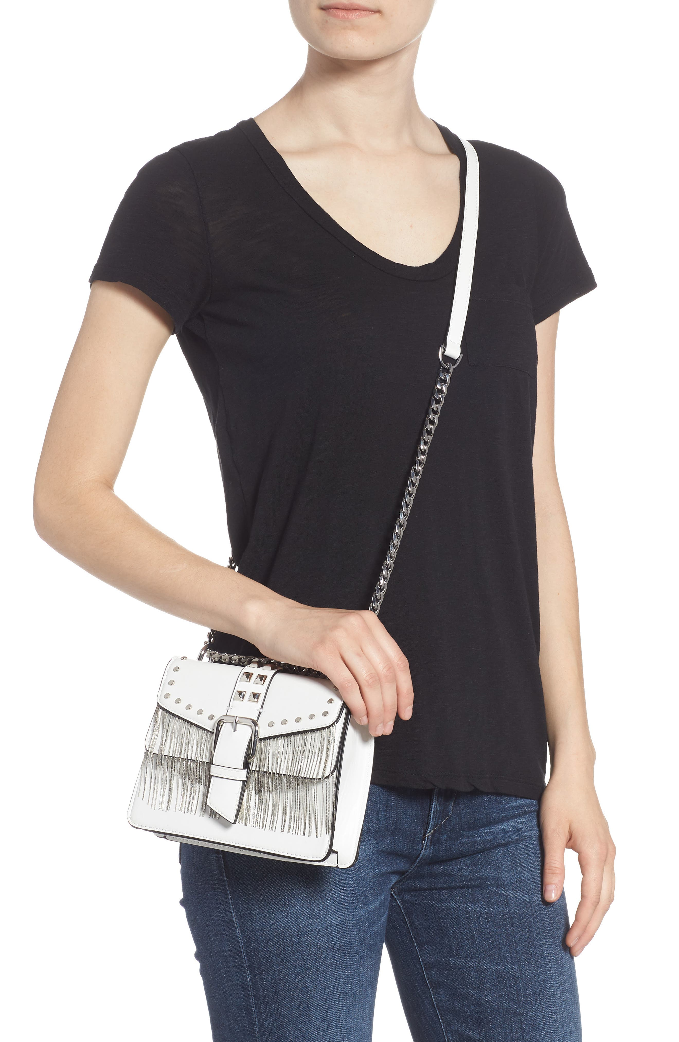 Shelby Studded Faux Leather Crossbody Bag,                             Alternate thumbnail 2, color,                             100