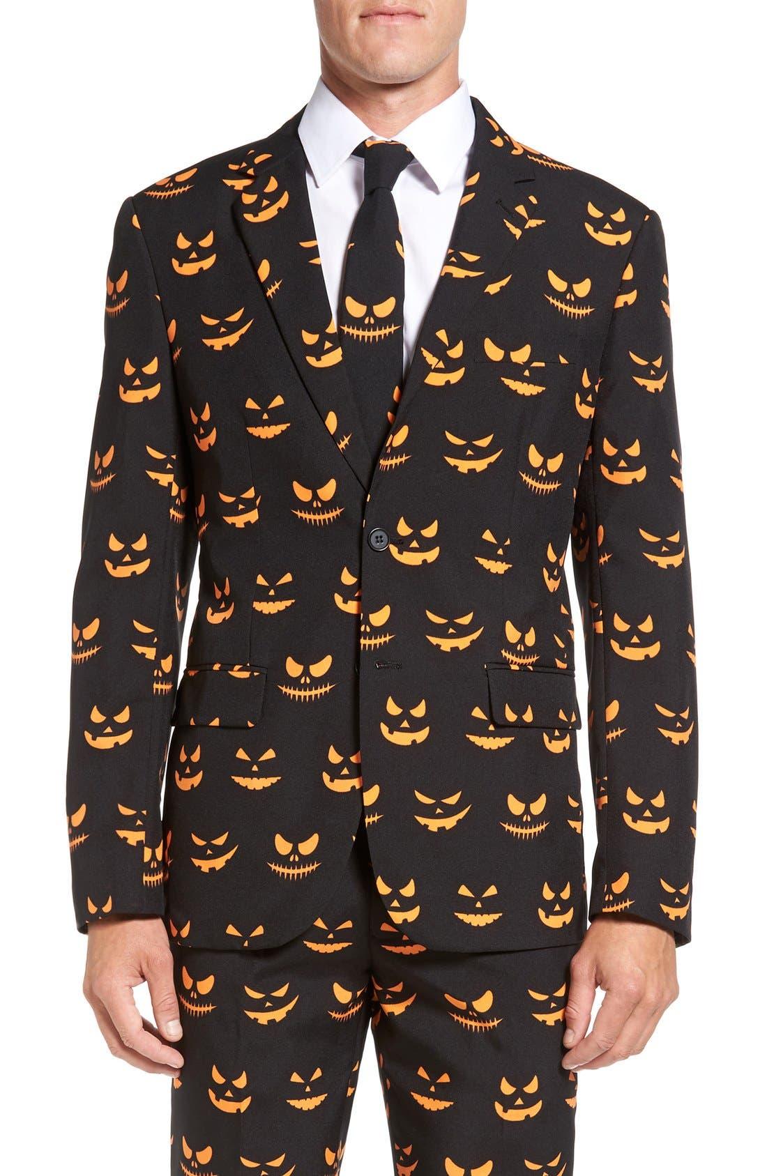'Black-O Jack-O' Trim Fit Suit with Tie,                             Alternate thumbnail 6, color,