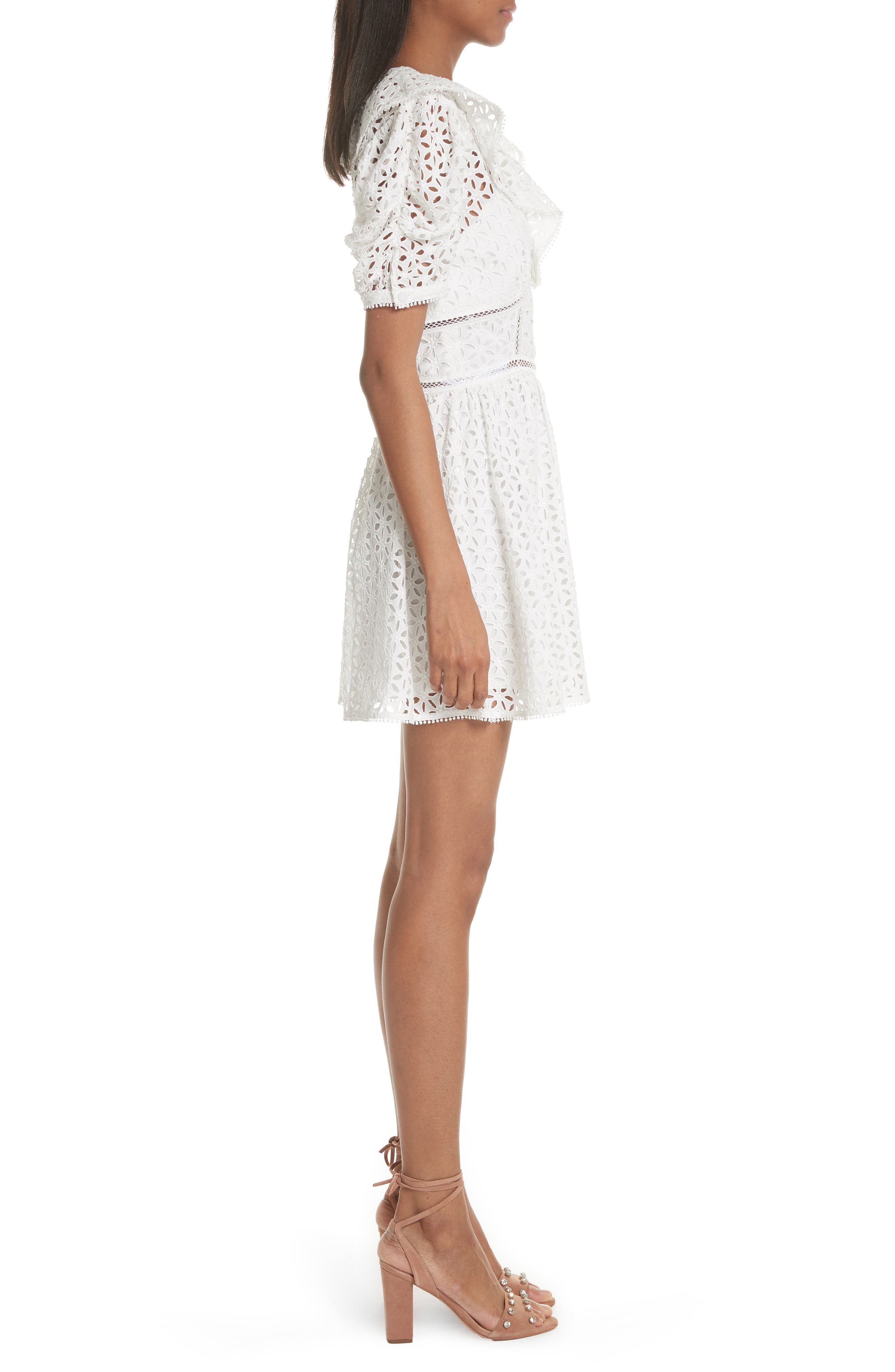 Puff Shoulder Broderie Anglaise Dress,                             Alternate thumbnail 3, color,                             100