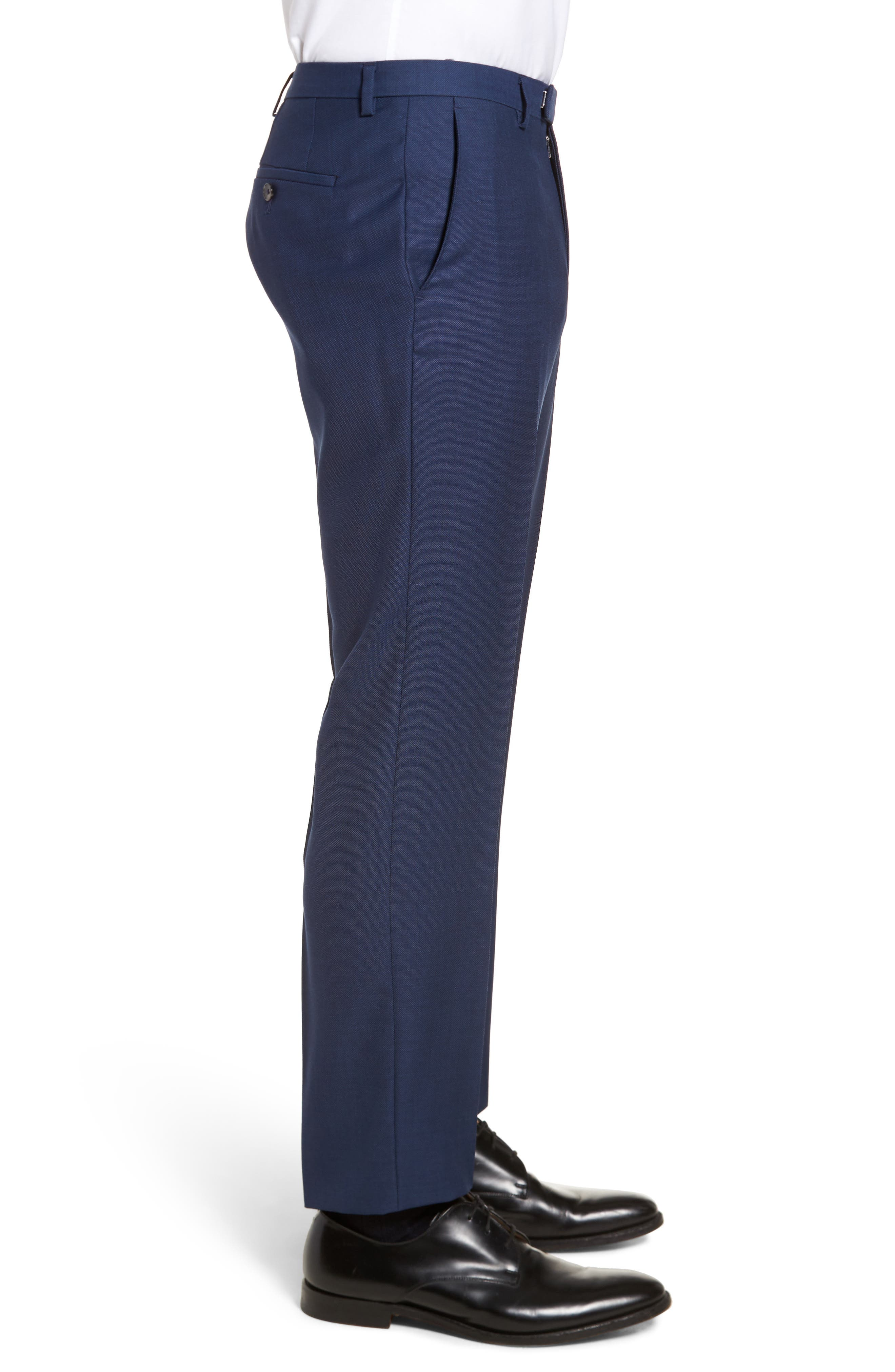 Leenon Flat Front Regular Fit Solid Wool Trousers,                             Alternate thumbnail 3, color,                             410