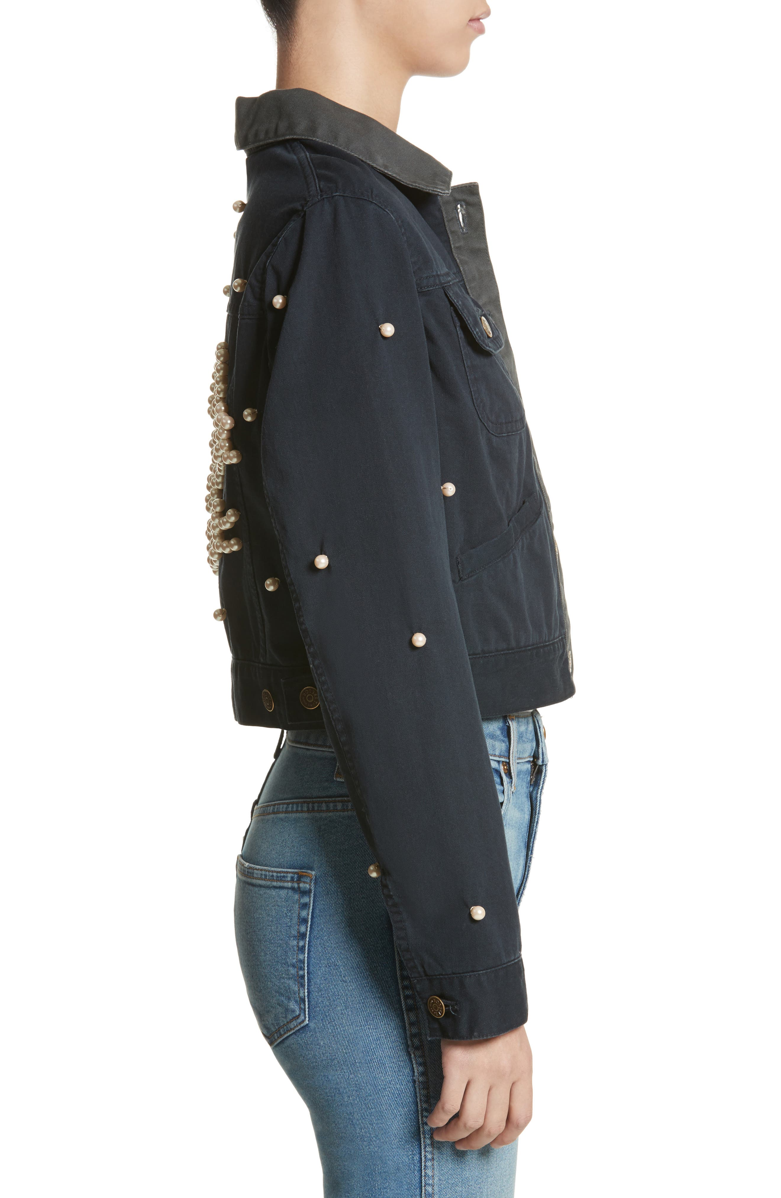 Open Your Heart Imitation Pearl Embellished Jacket,                             Alternate thumbnail 3, color,