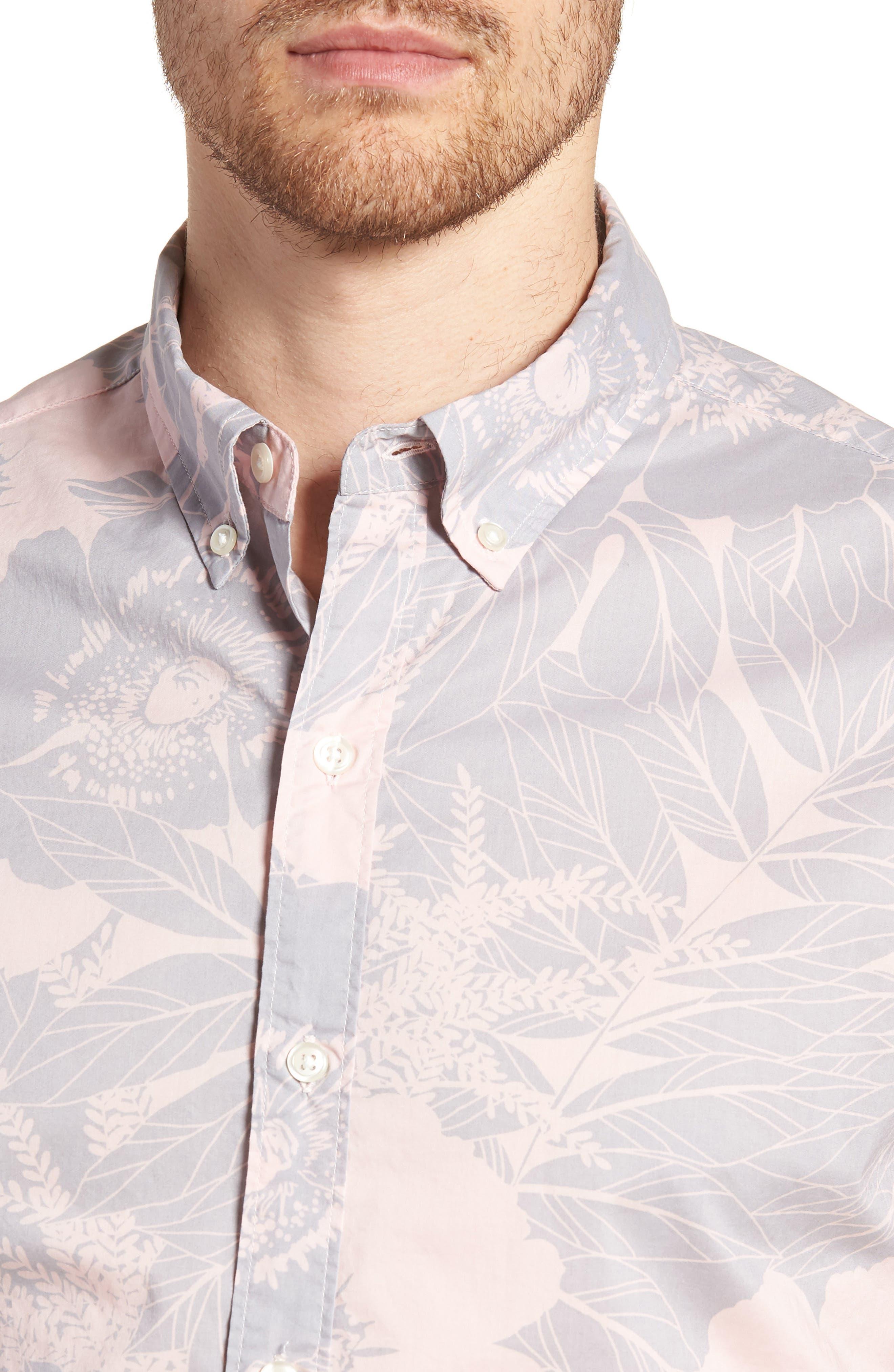 Riviera Slim Fit Floral Print Sport Shirt,                             Alternate thumbnail 4, color,                             LINEAR FLORAL - SKIVVY PINK