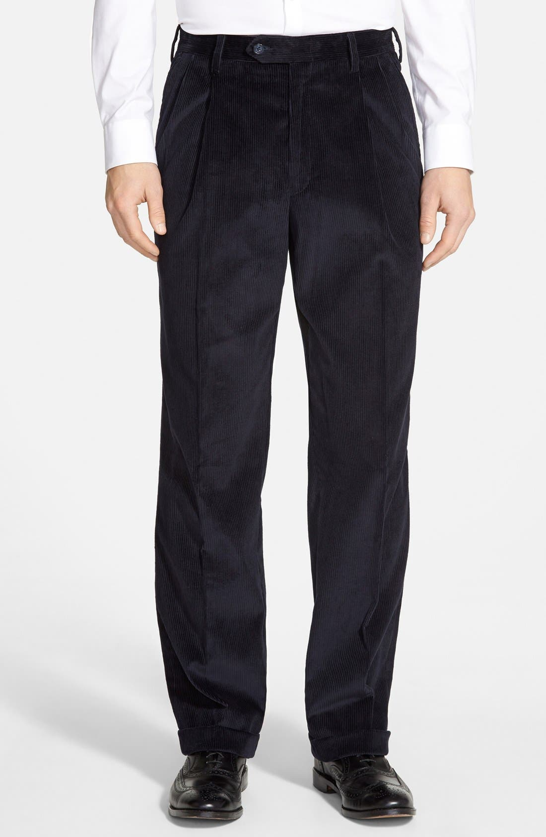 Pleated Corduroy Trousers,                             Main thumbnail 1, color,                             NAVY