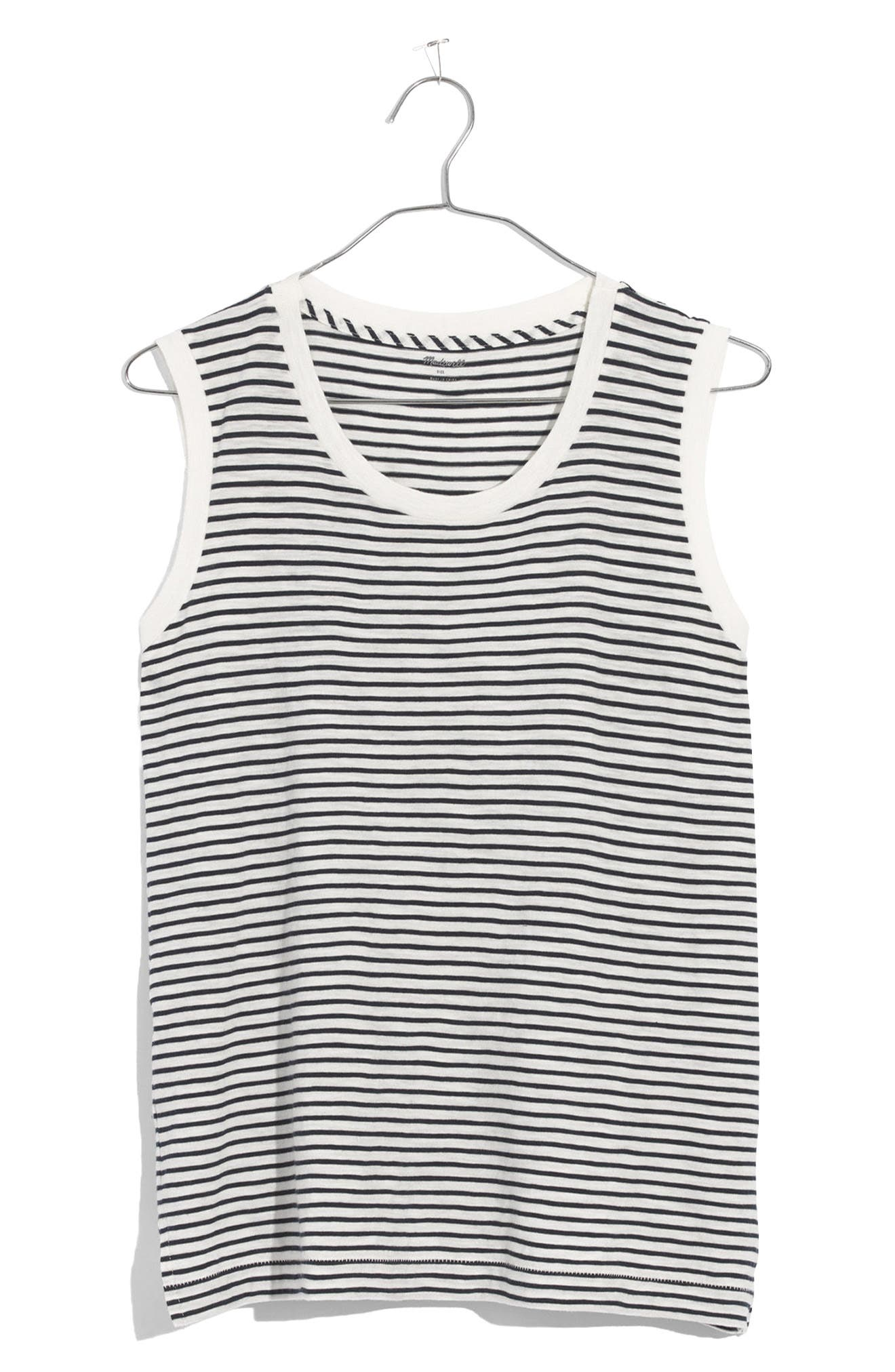 Whisper Cotton Stripe Crewneck Muscle Tank,                             Alternate thumbnail 3, color,                             400