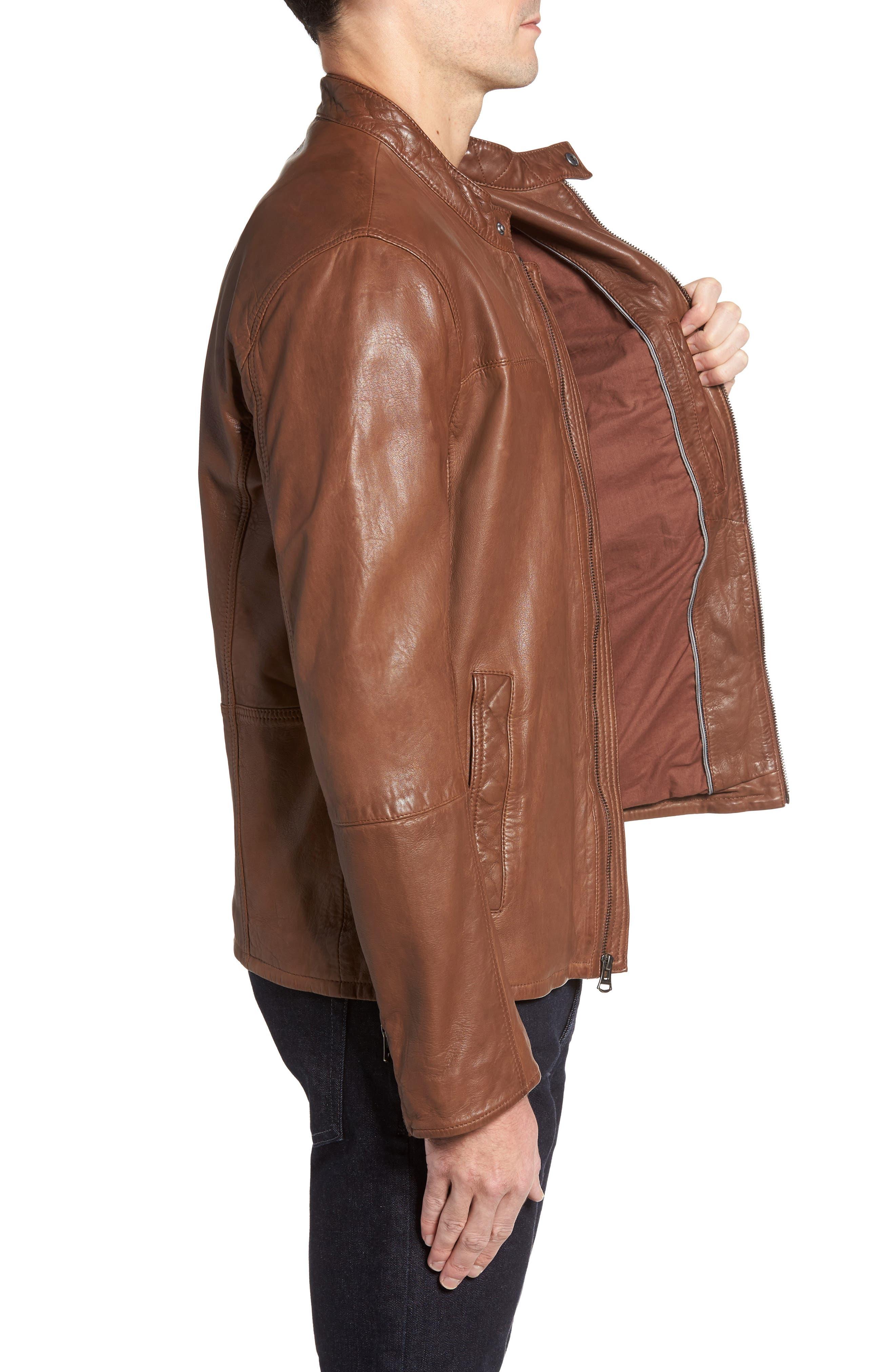 Washed Lamb Leather Moto Jacket,                             Alternate thumbnail 5, color,